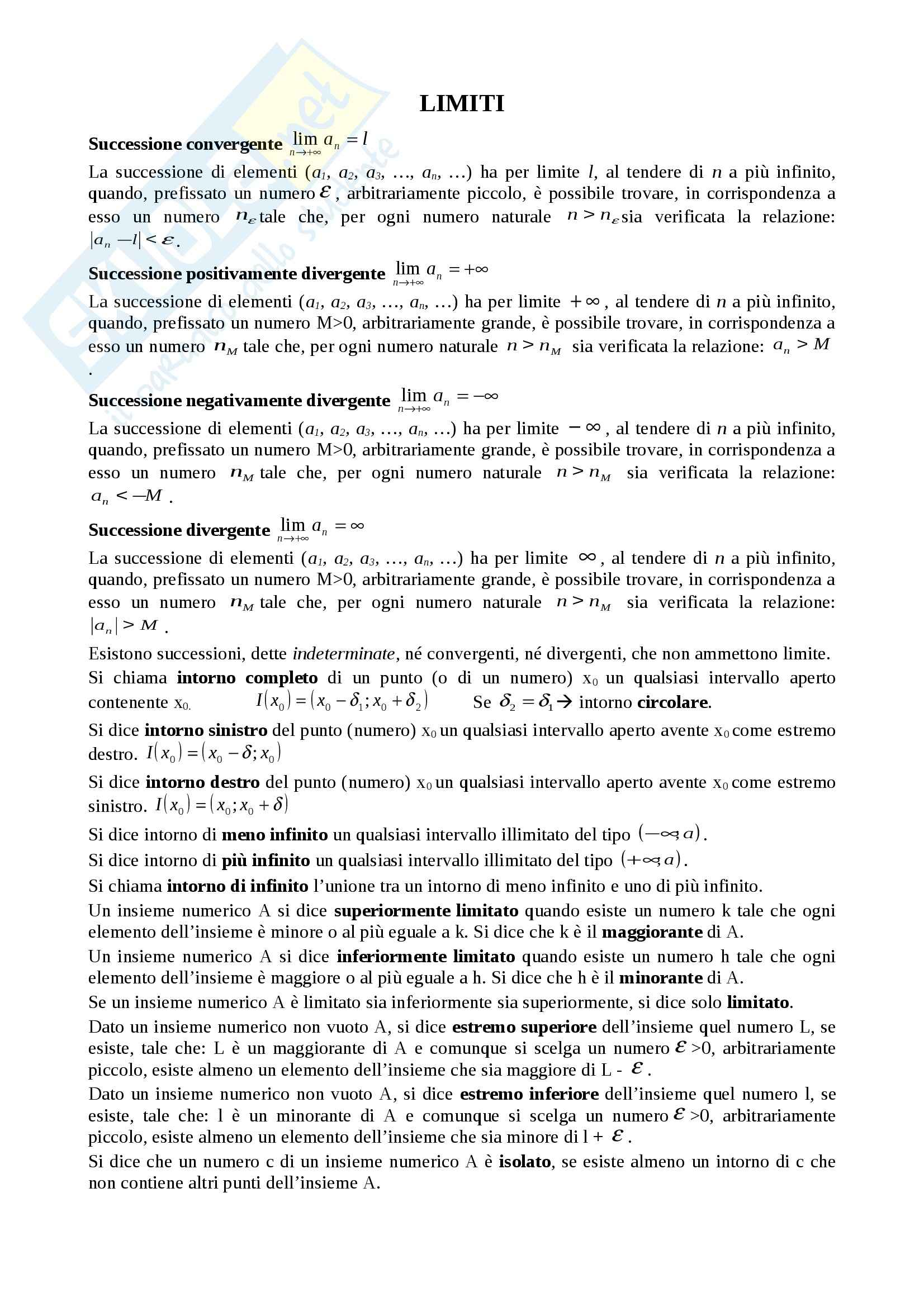 appunto C. Marcelli Analisi matematica I