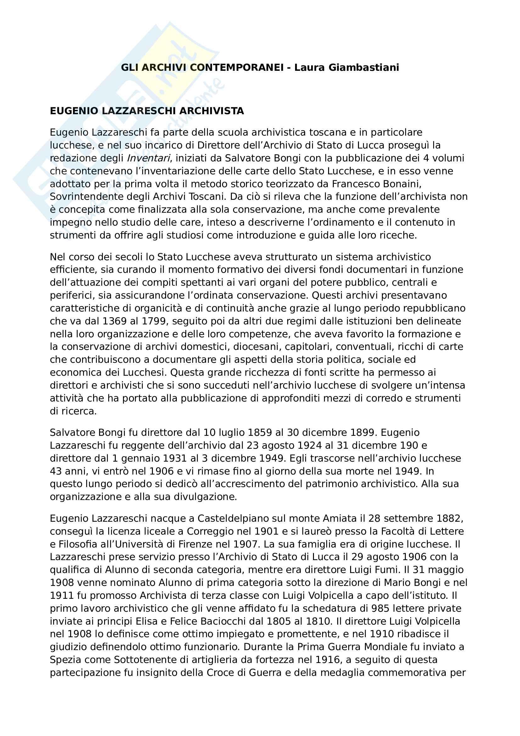 Riassunto esame Archivistica, prof. Giambastiani, libro consigliato Gli archivi contemporanei