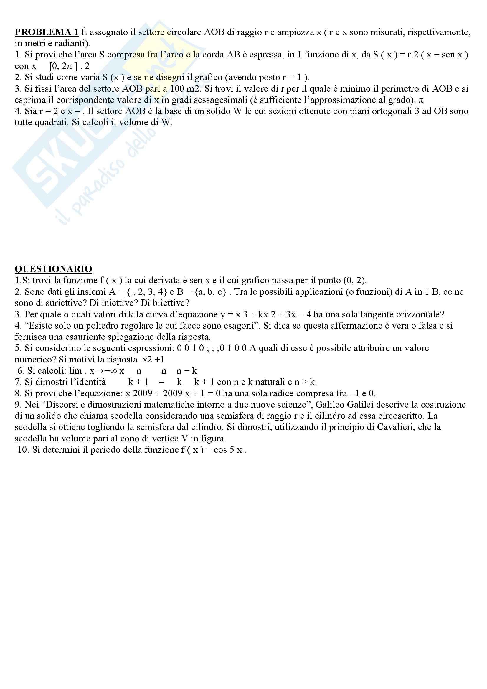 Matematica - esami di stato 2008/2009