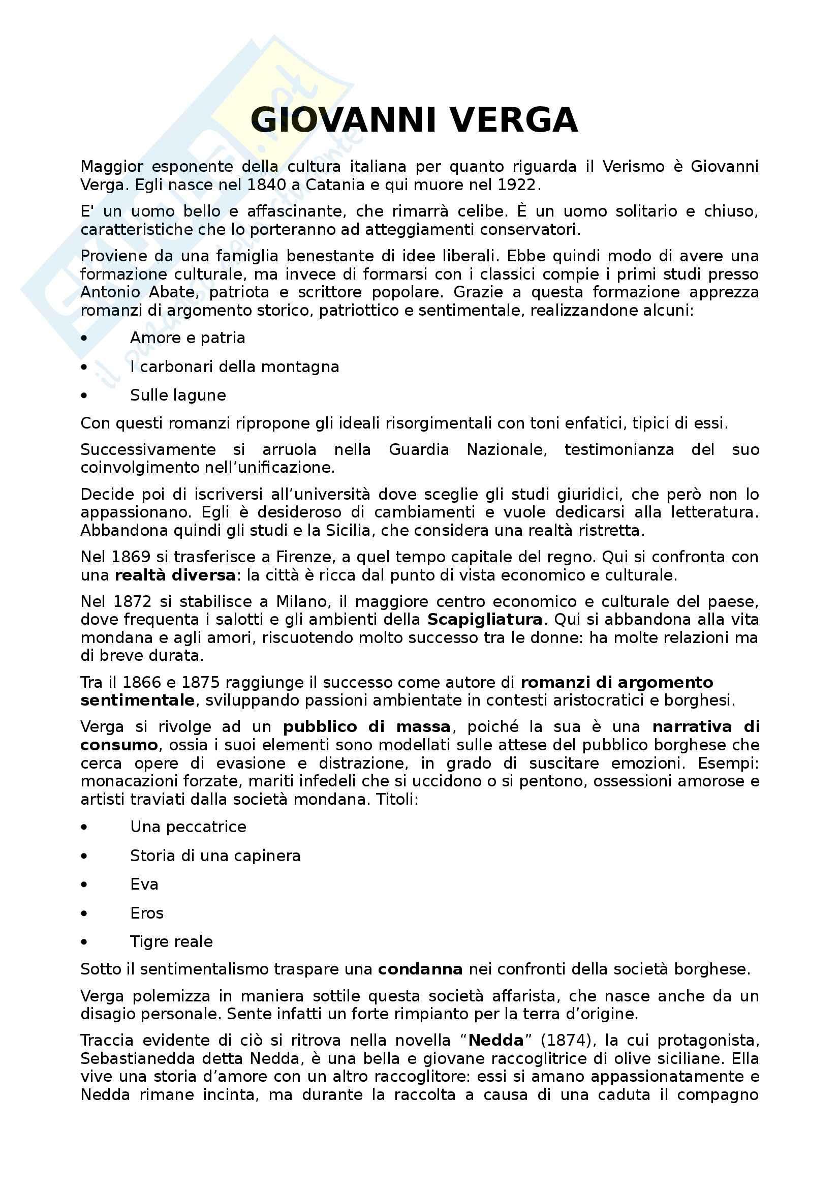 Letteratura italiana - Giovanni Verga