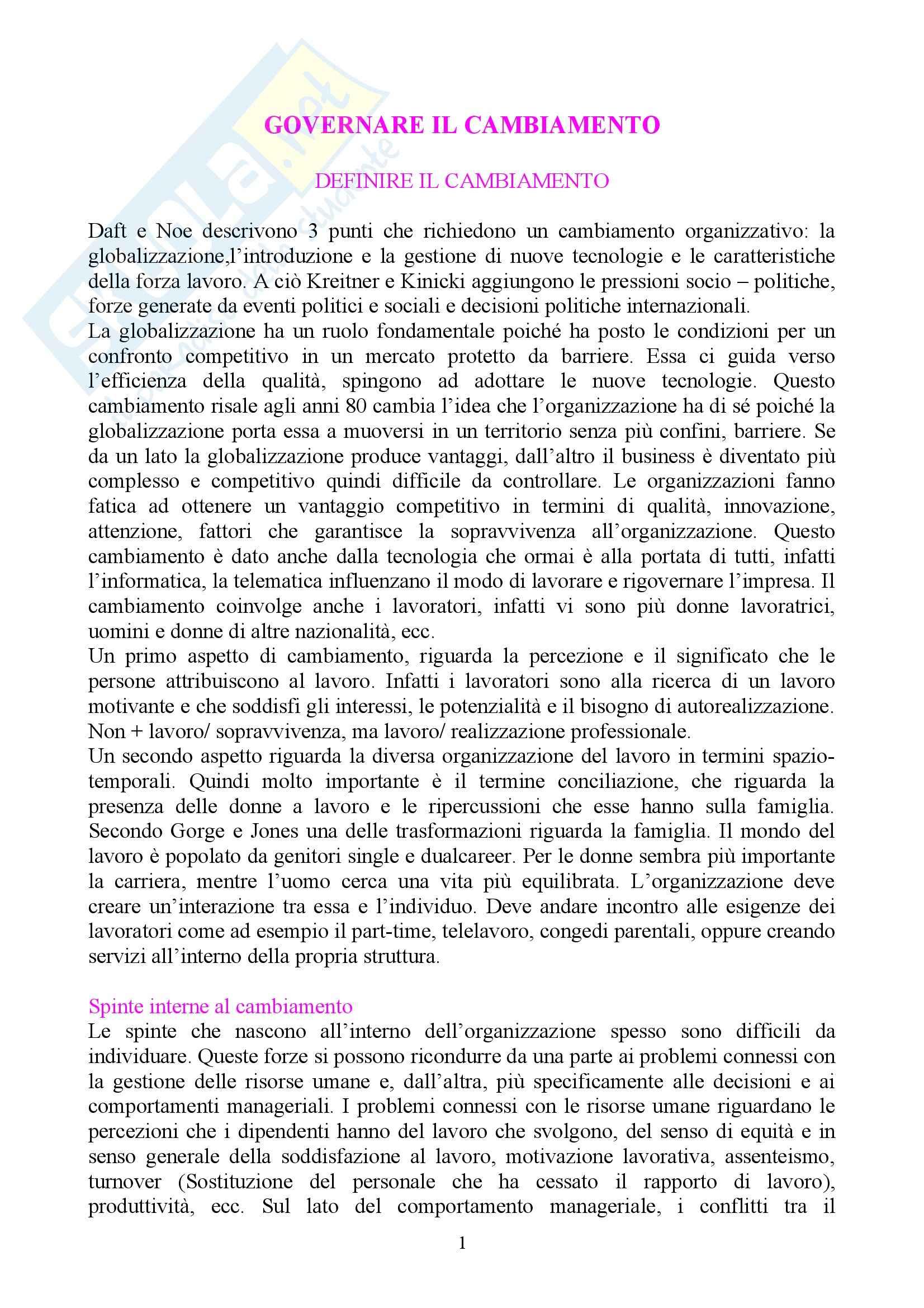 Governare il cambiamento, Piccardo, Colombo - Appunti