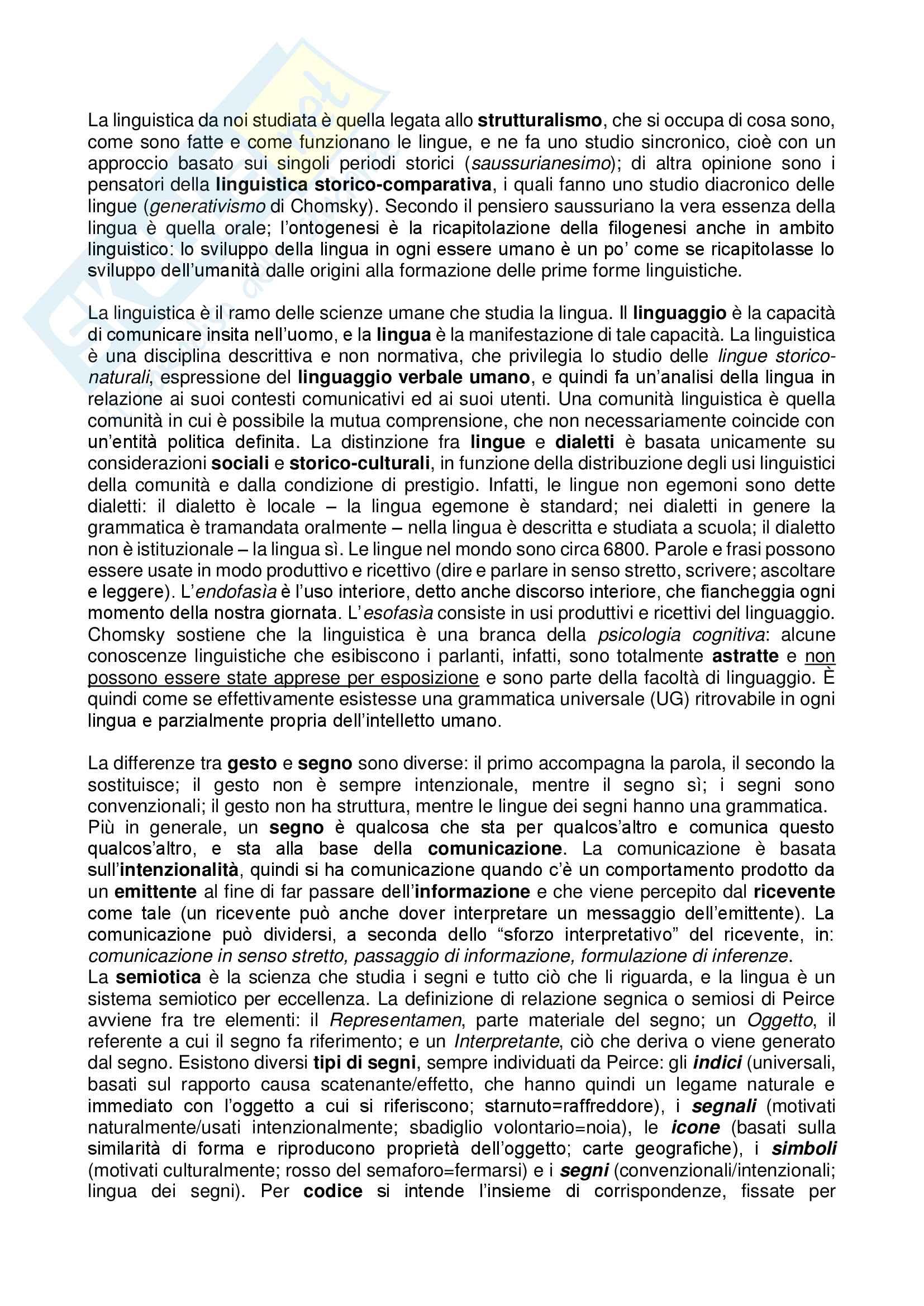 Riassunto esame Linguistica Generale, prof. Sabina Fontana