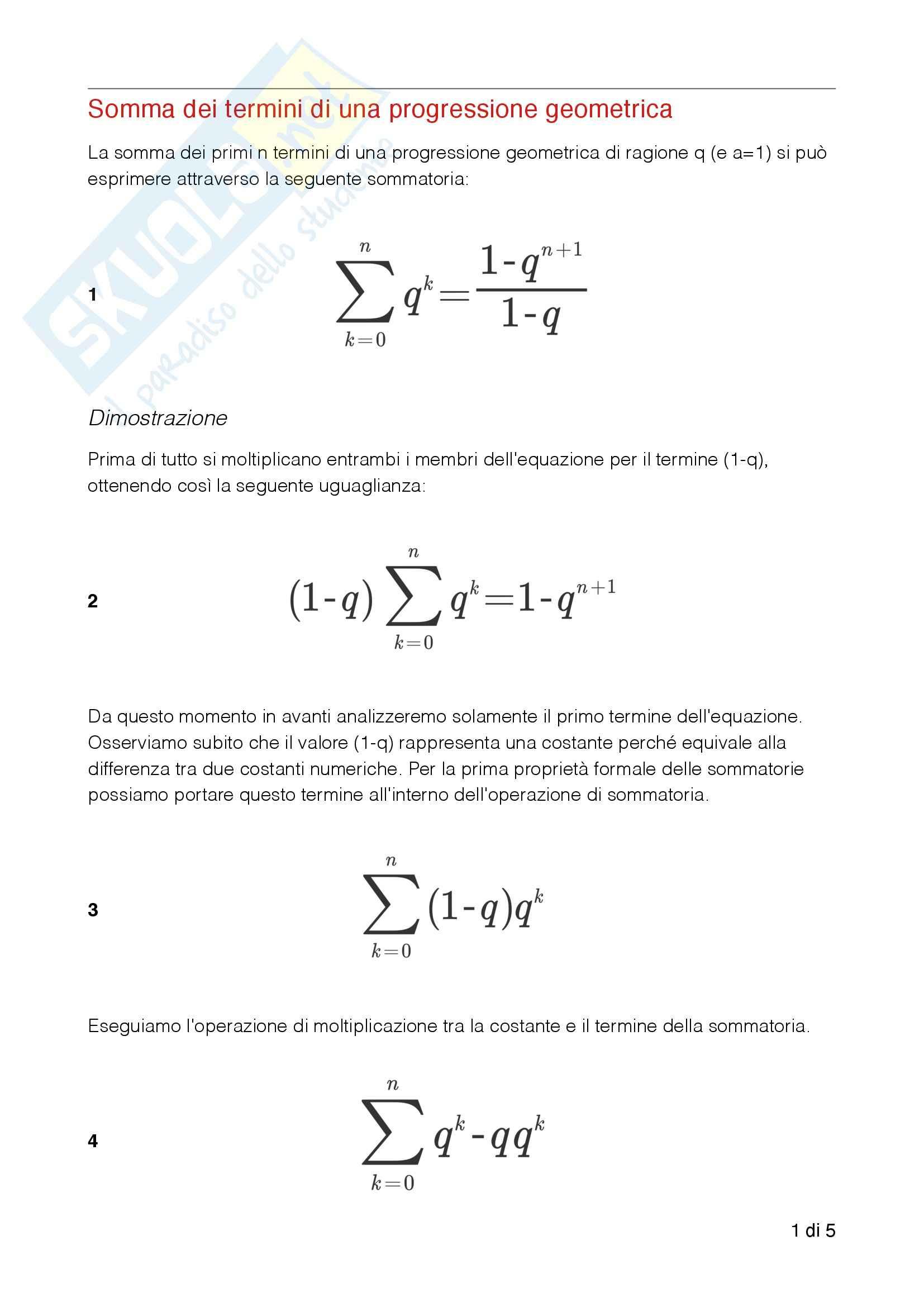 Somma termini Progressione Geometrica, Analisi matematica I