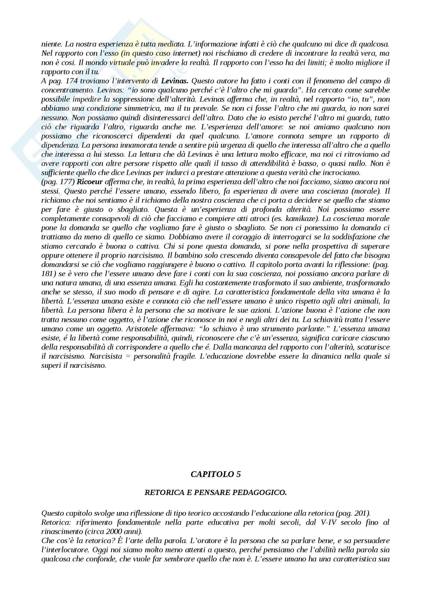 Riassunto esame Pedagogia, prof. Mari, libro consigliato Razionalità Metafisica e Pensare Pedagogico Pag. 6