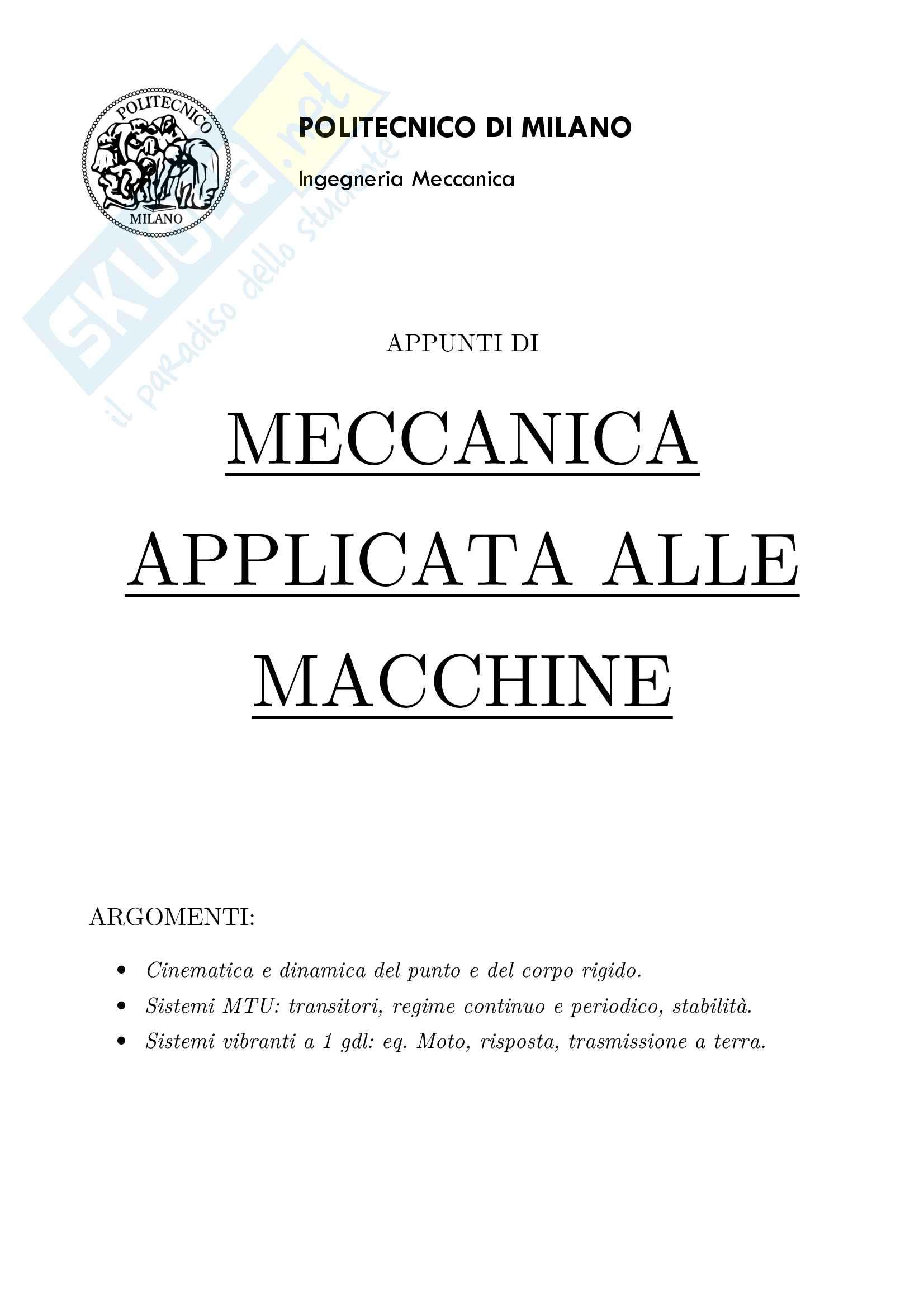 Appunti di Meccanica applicata alle macchine