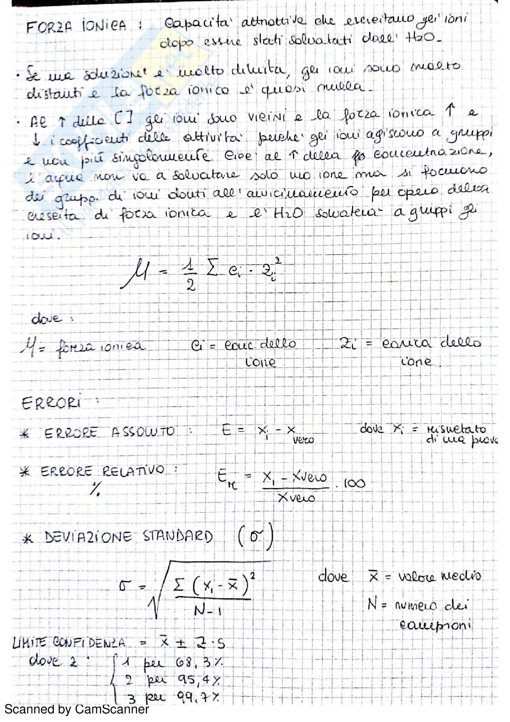 Appunti completi di chimica analitica comprensivi di esercizi d'esame