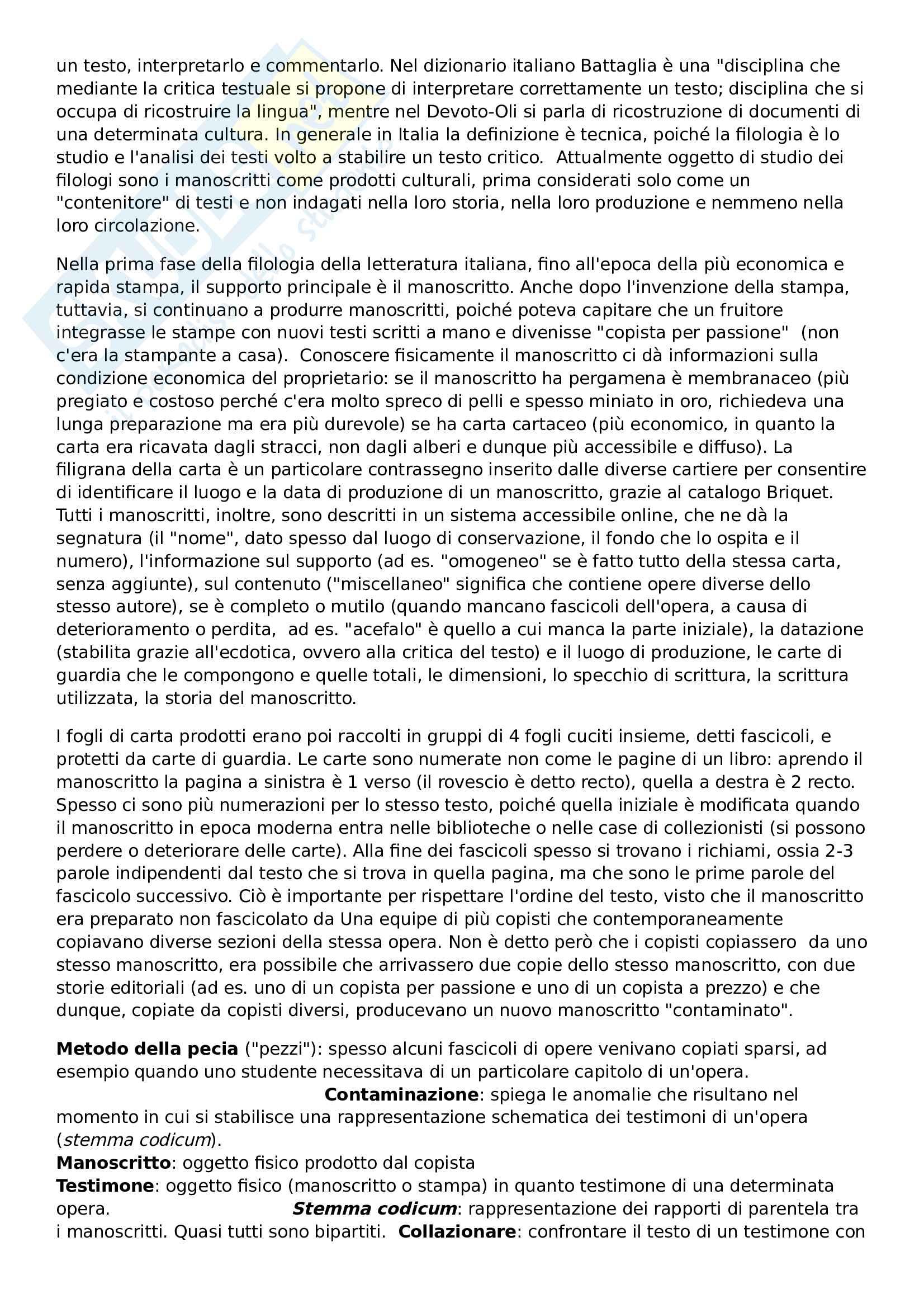 Elementi di filologia italiana, prof. Grimaldi Pag. 2