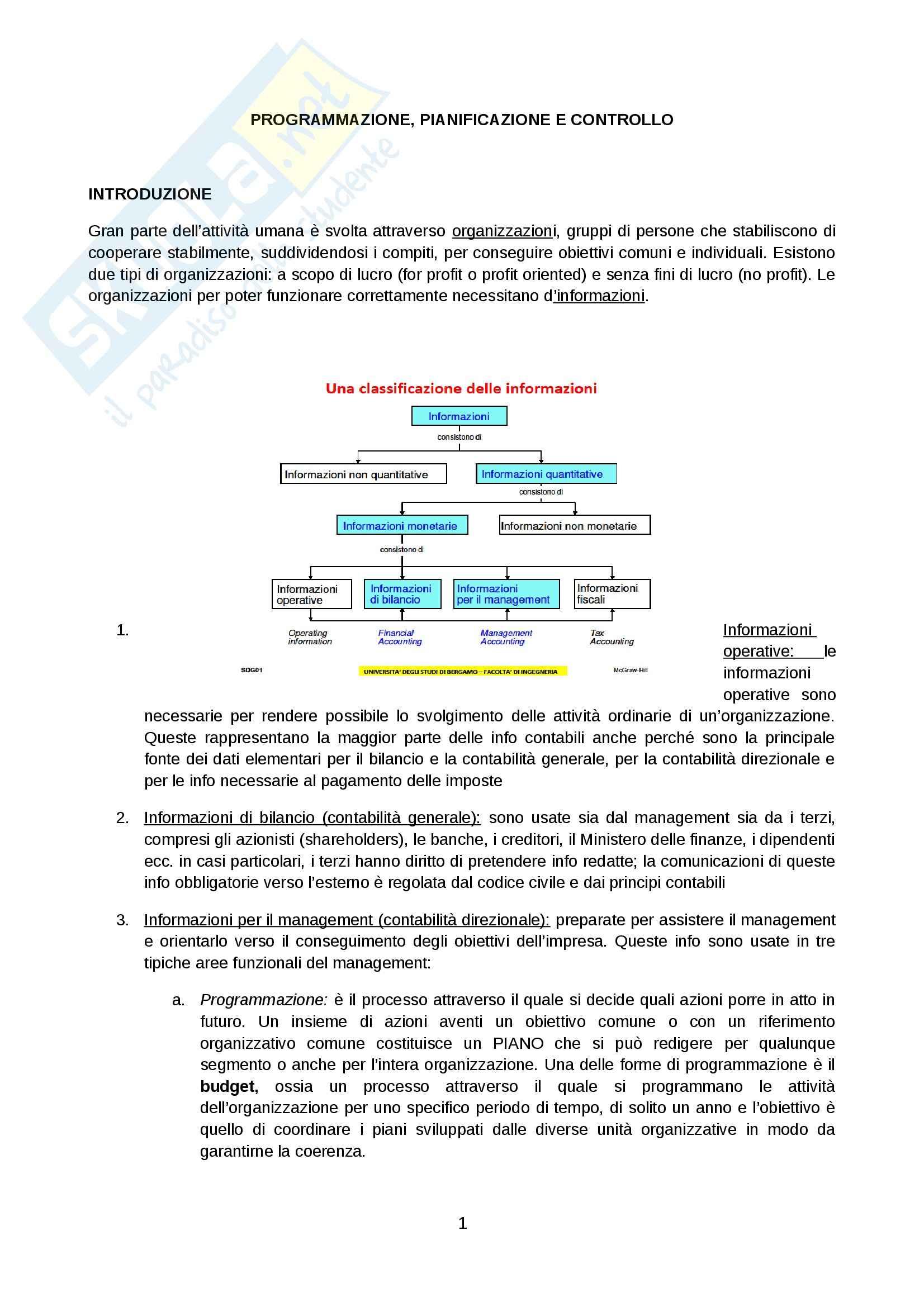 Riassunto esame Programmazione, pianificazione e controllo, prof. Spallini