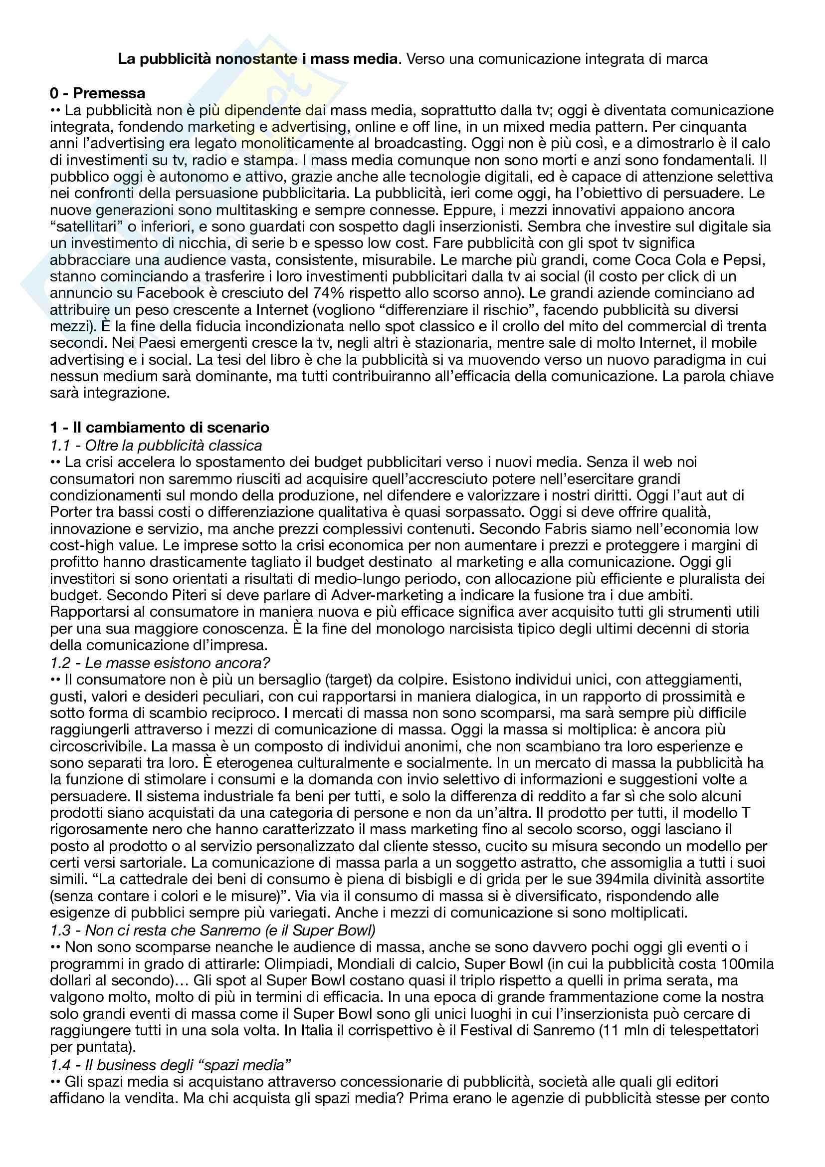 Riassunto esame Pubblicità e strategie di comunicazione integrata, prof. Panarese, libro consigliato La pubblicita' nonostante i mass media - Verso una comunicazione integrata di marca