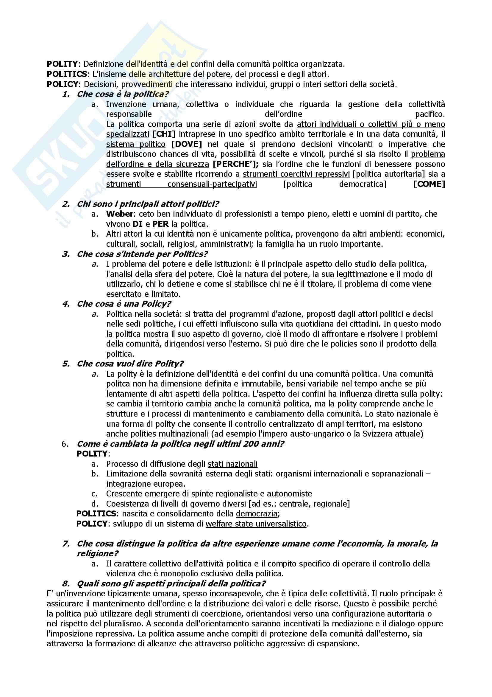 Fondamenti di scienza politica, Cotta, Della Porta, Morlino - Domande e risposte