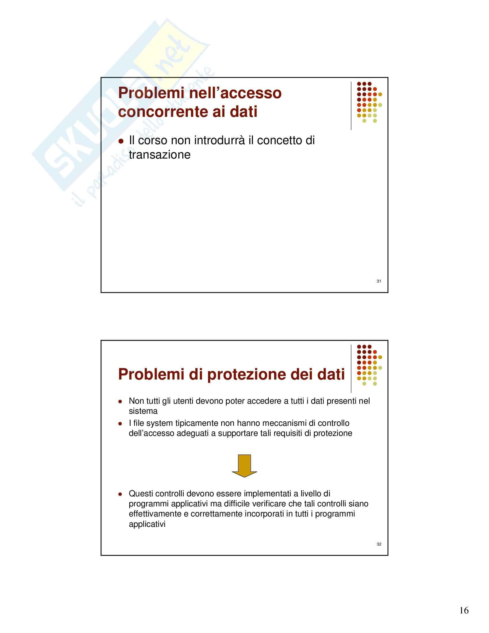 Gestione dati e archivi - le basi di dati - introduzione al corso Pag. 16