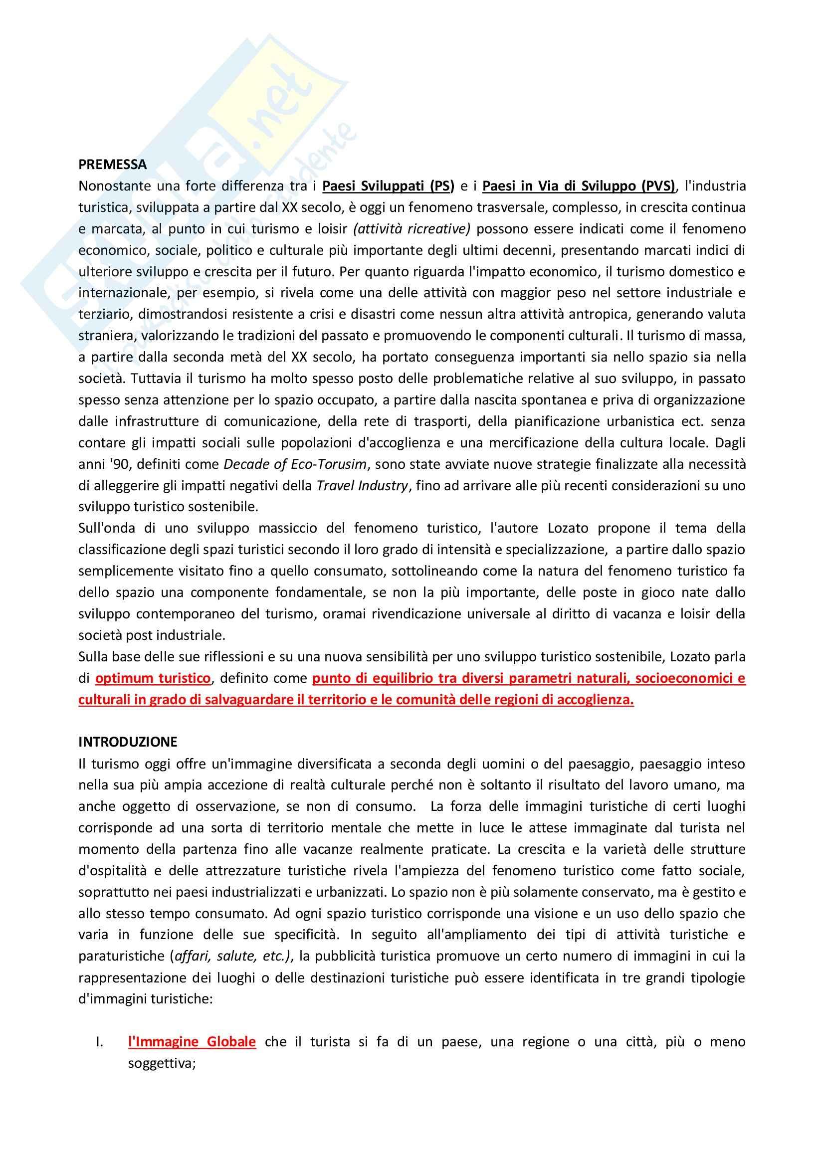 Riassunto esame Geografia del Turismo, prof. Sturani, libro consigliato Geografia del Turismo di Lozato-Giotart