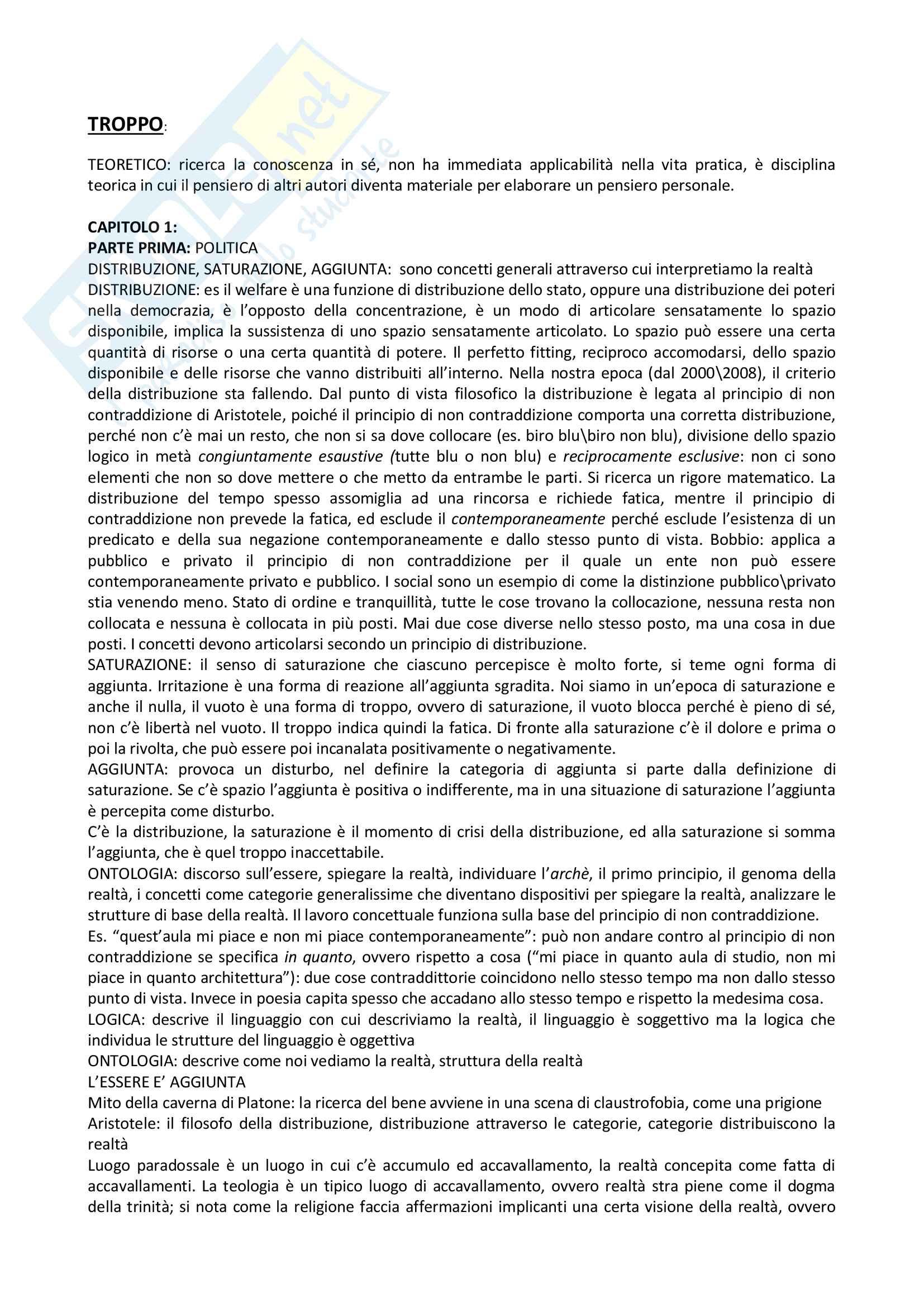 Riassunto esame filosofia teoretica, prof Enrico Guglielminetti, libro consigliato Troppo, saggio filosofico, politico, teologico di Guglielminetti