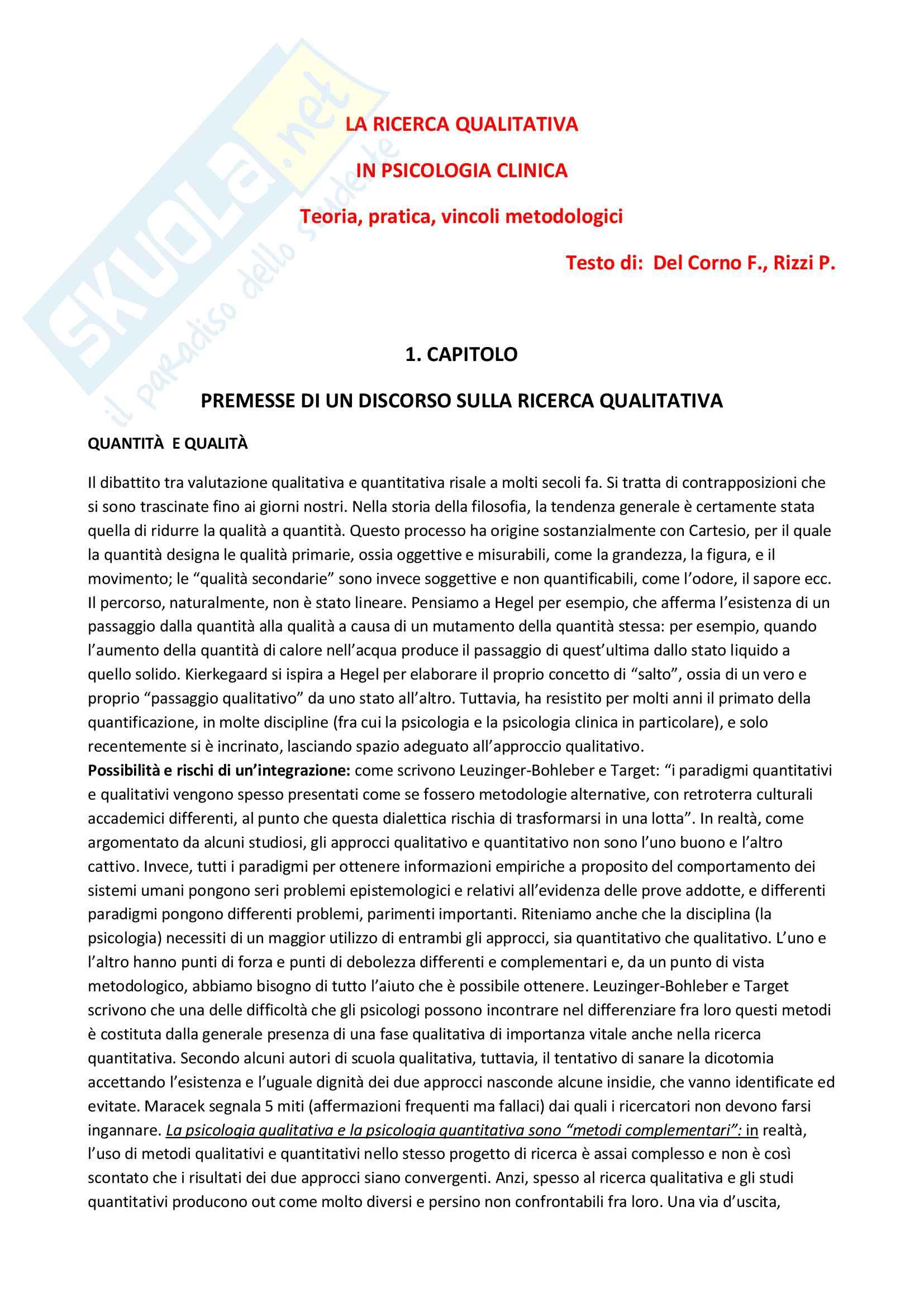 Riassunto esame Metodologia della ricerca in Psicologia Clinica, prof. Lo Coco, libro consigliato La ricerca qualitativa in psicologia clinica, Del Corno e Rizzi