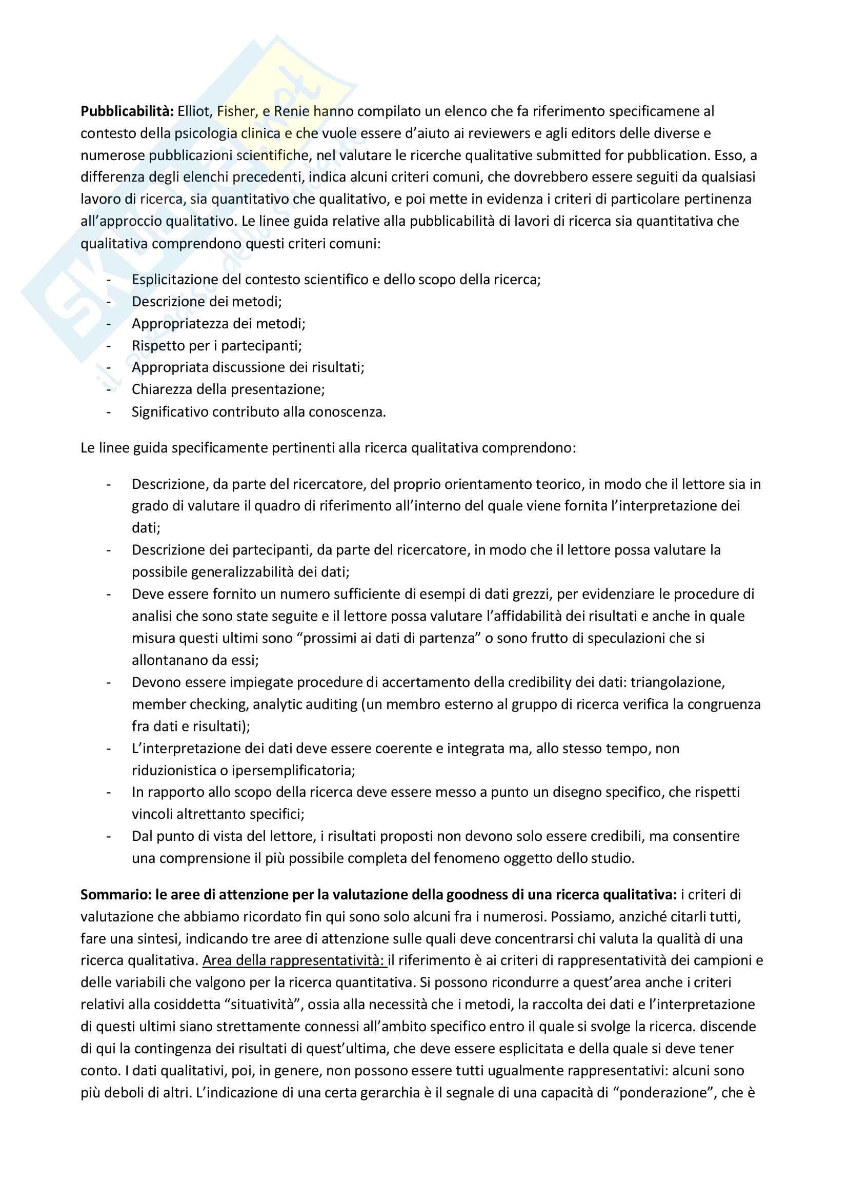 Riassunto esame Metodologia della ricerca in Psicologia Clinica, prof. Lo Coco, libro consigliato La ricerca qualitativa in psicologia clinica, Del Corno e Rizzi Pag. 16