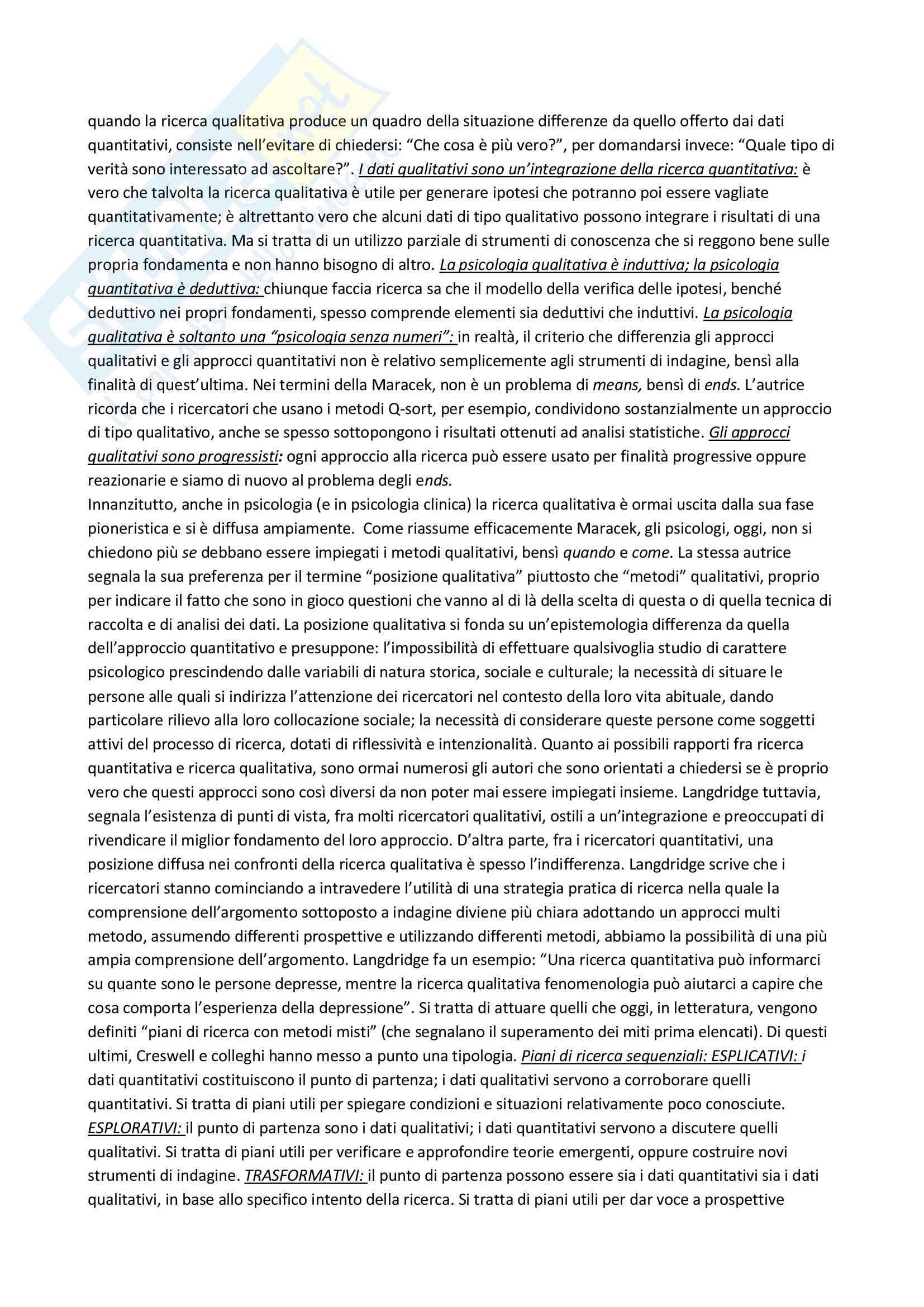 Riassunto esame Metodologia della ricerca in Psicologia Clinica, prof. Lo Coco, libro consigliato La ricerca qualitativa in psicologia clinica, Del Corno e Rizzi Pag. 2