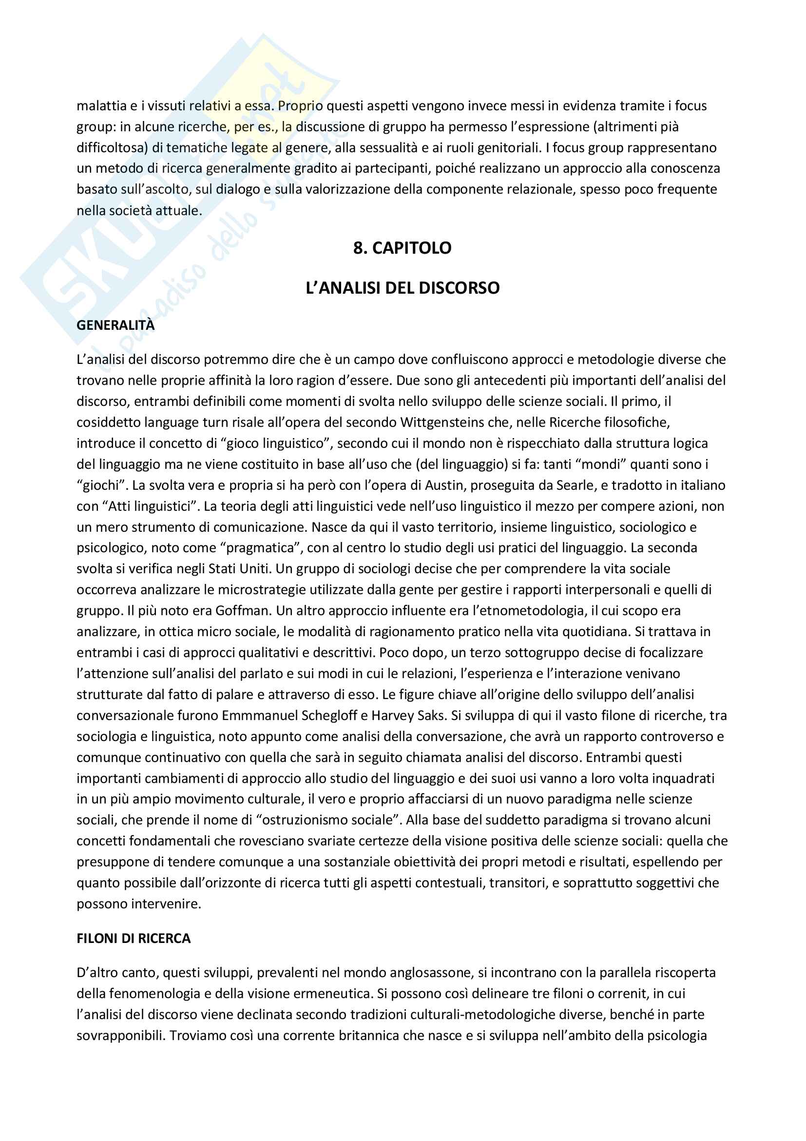 Riassunto esame Metodologia della ricerca in Psicologia Clinica, prof. Lo Coco, libro consigliato La ricerca qualitativa in psicologia clinica, Del Corno e Rizzi Pag. 41