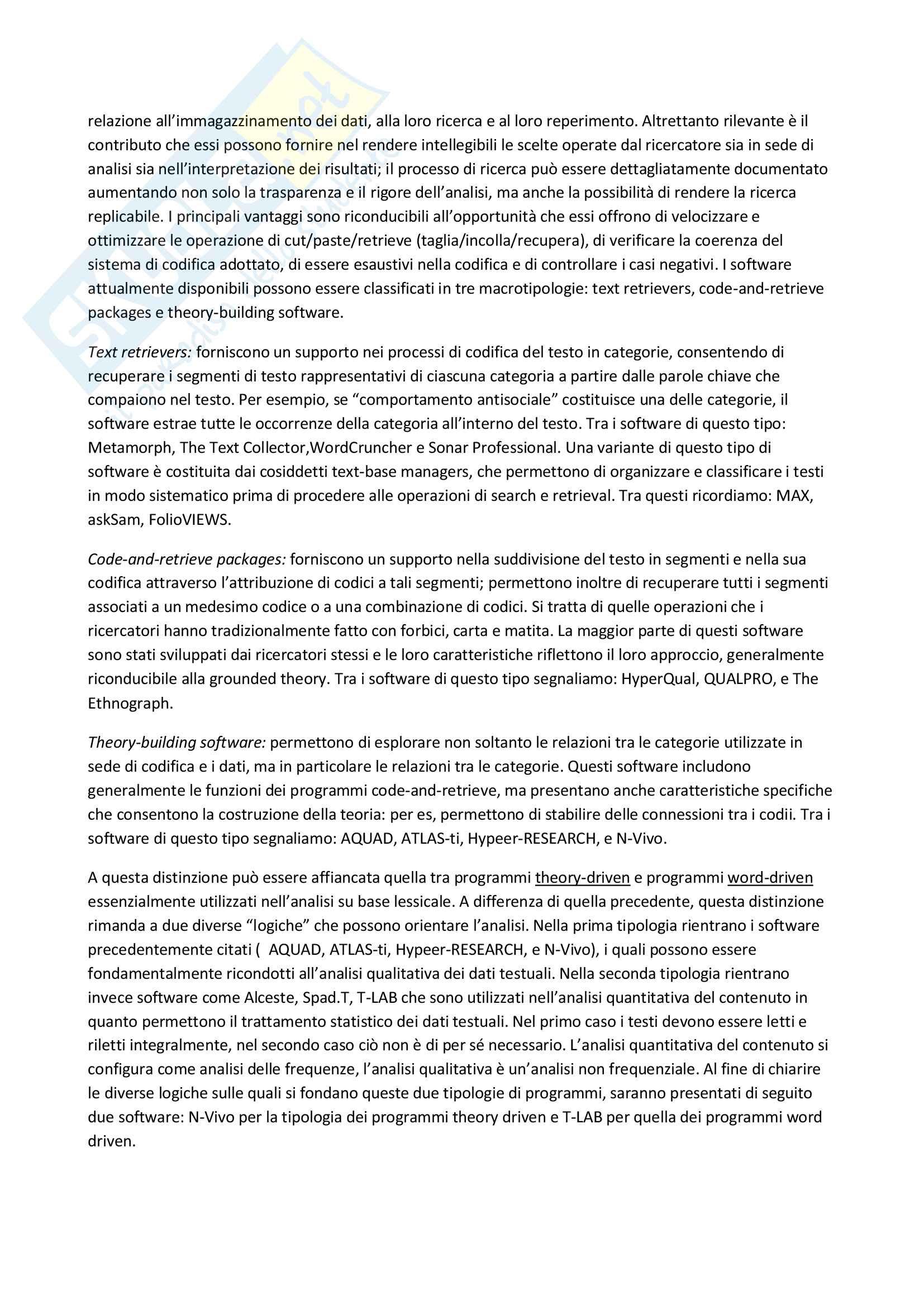 Riassunto esame Metodologia della ricerca in Psicologia Clinica, prof. Lo Coco, libro consigliato La ricerca qualitativa in psicologia clinica, Del Corno e Rizzi Pag. 46