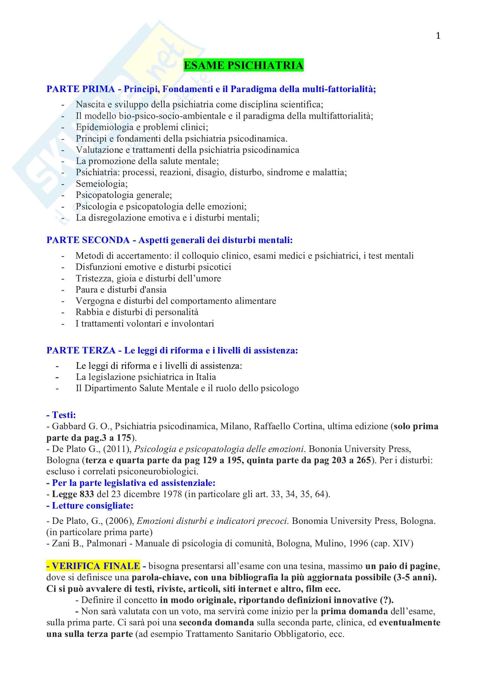 Psichiatria - Appunti lezioni Pag. 1