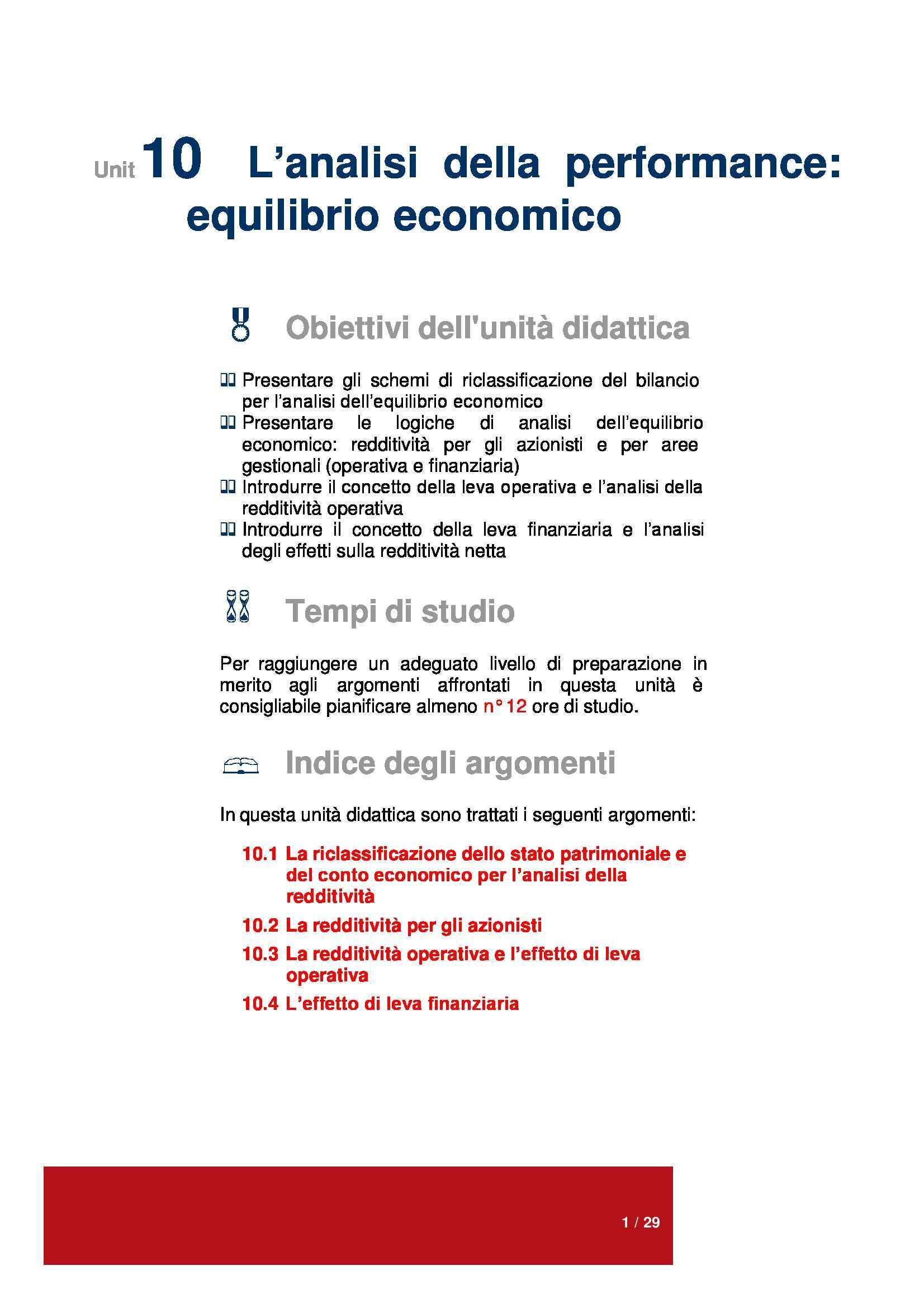 Dispensa di Economia aziendale - Analisi della performance: equilibrio economico