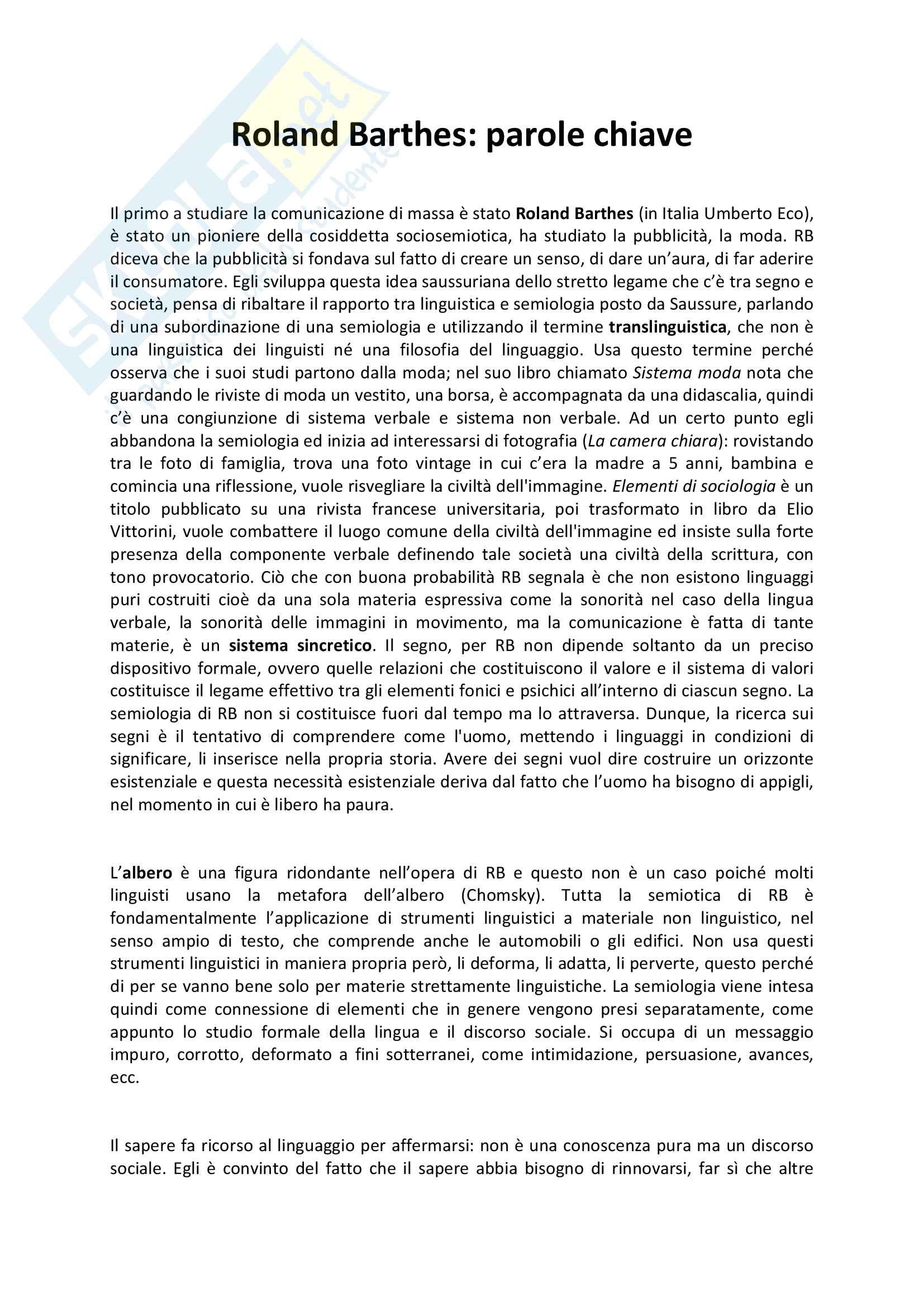 Riassunto esame Semiotica, prof. Caputo, libro consigliato Roland Barthes: parole chiave, Marrone