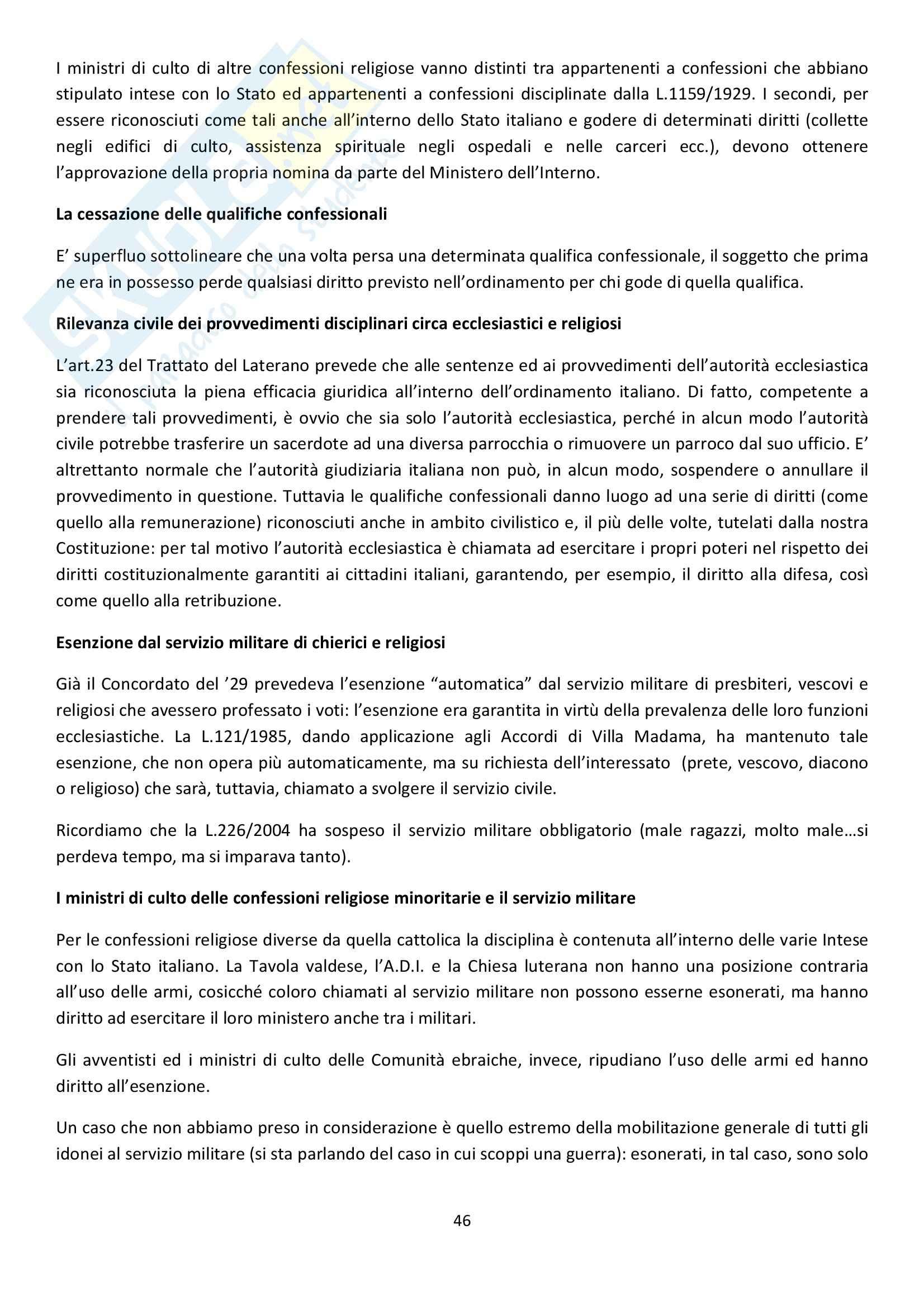 Riassunto esame Diritto Ecclesiastico, prof. Dammacco, libro consigliato Diritto Ecclesiastico di Finocchiaro Pag. 46