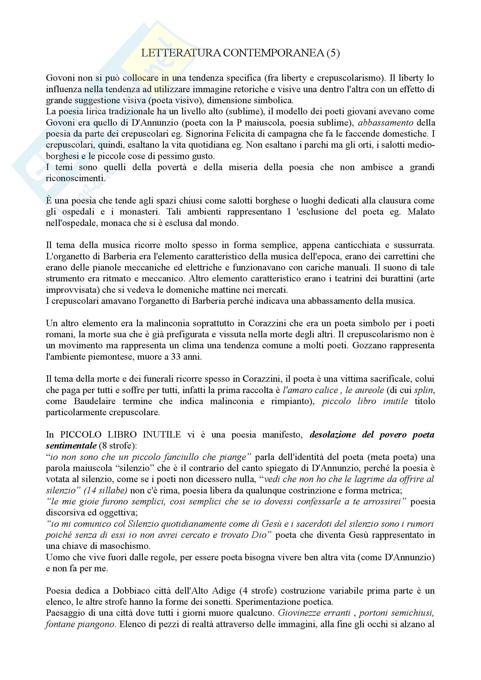 Letteratura Italiana Contemporanea Pag. 11