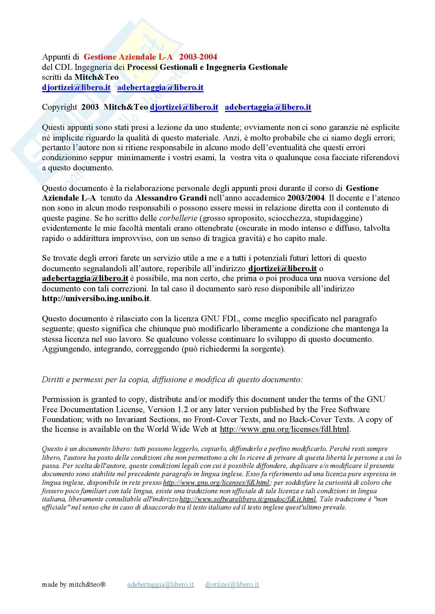 Gestione Aziendale L-A - Appunti