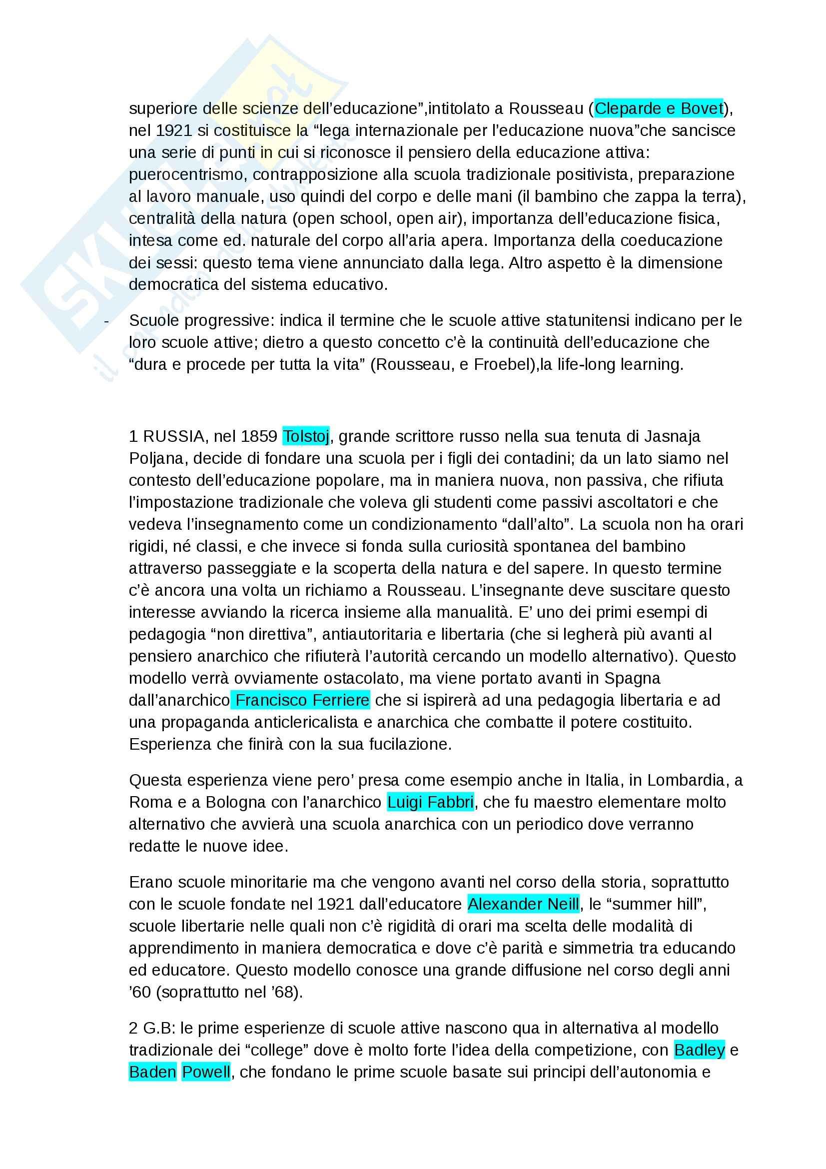 Storia dell'educazione -  attivismo pedagogico e autori salienti in Europa Pag. 2
