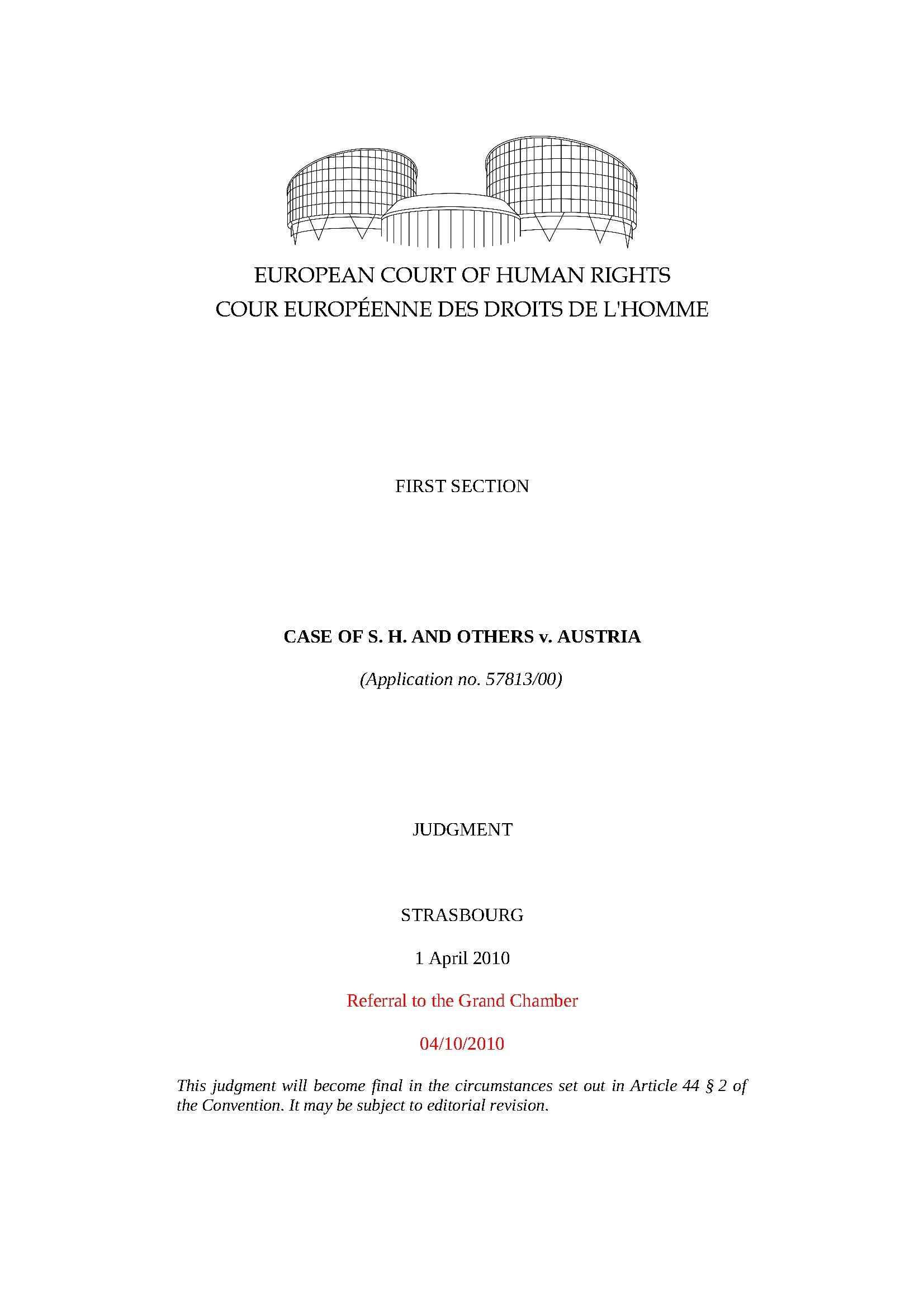 Procreazione medicalmente assistita - Corte di Strasburgo