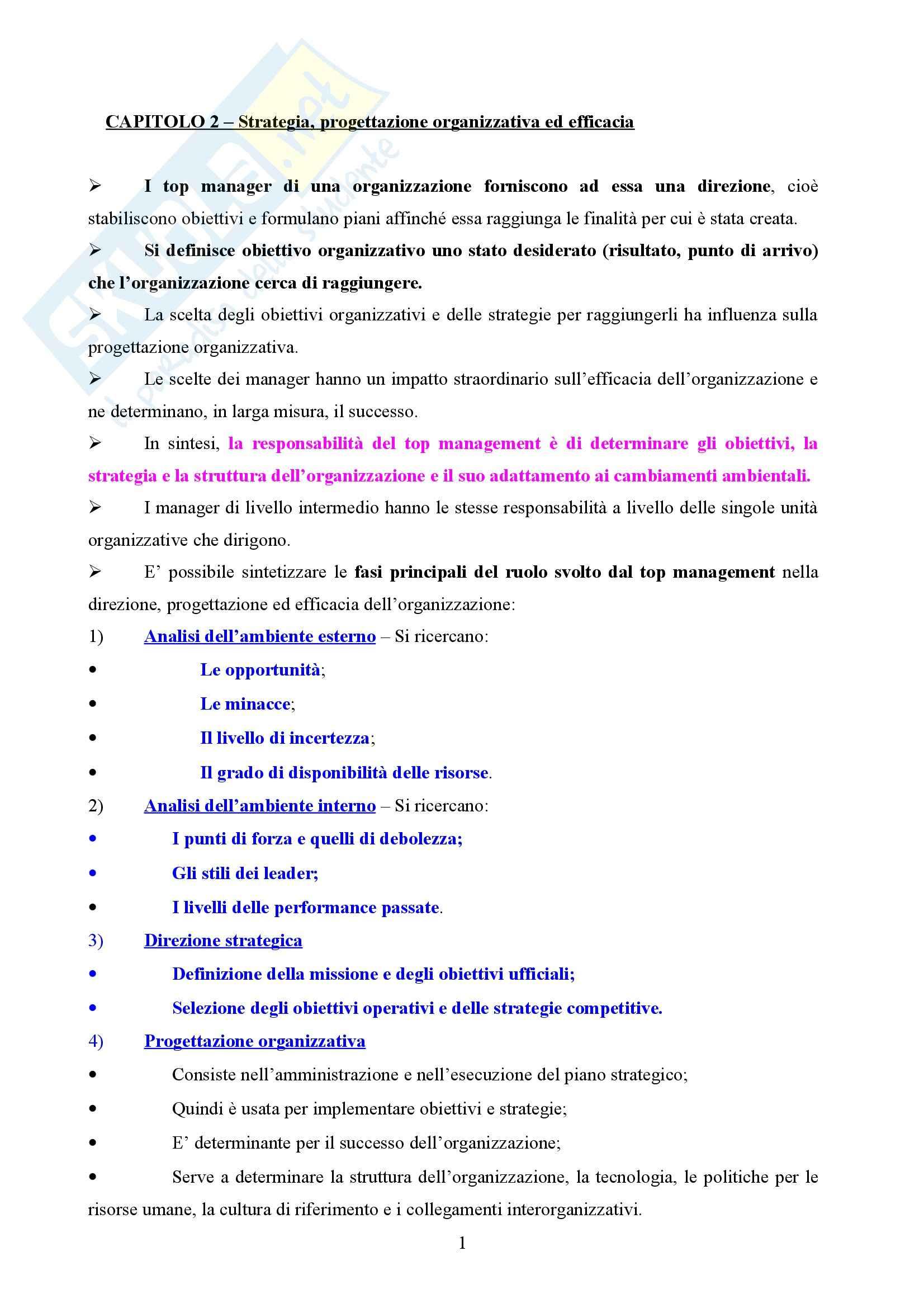 Riassunto esame Organizzazione Aziendale e dei Servizi, prof. Nicamulli, libro consigliato Organizzazione Aziendale, Daft