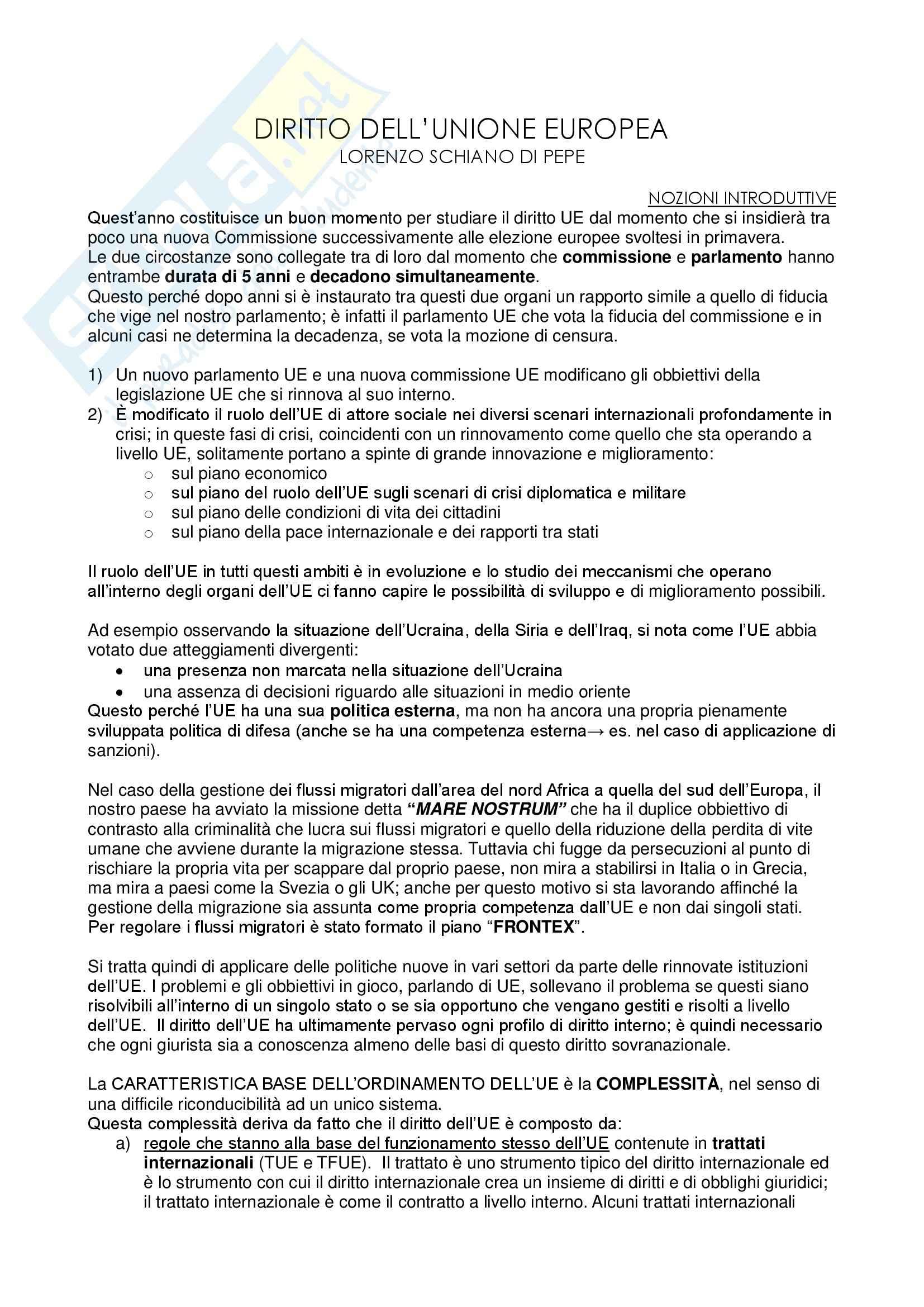 Appunti delle lezioni di diritto dell'Unione Europea del professore Lorenzo Schiano di Pepe
