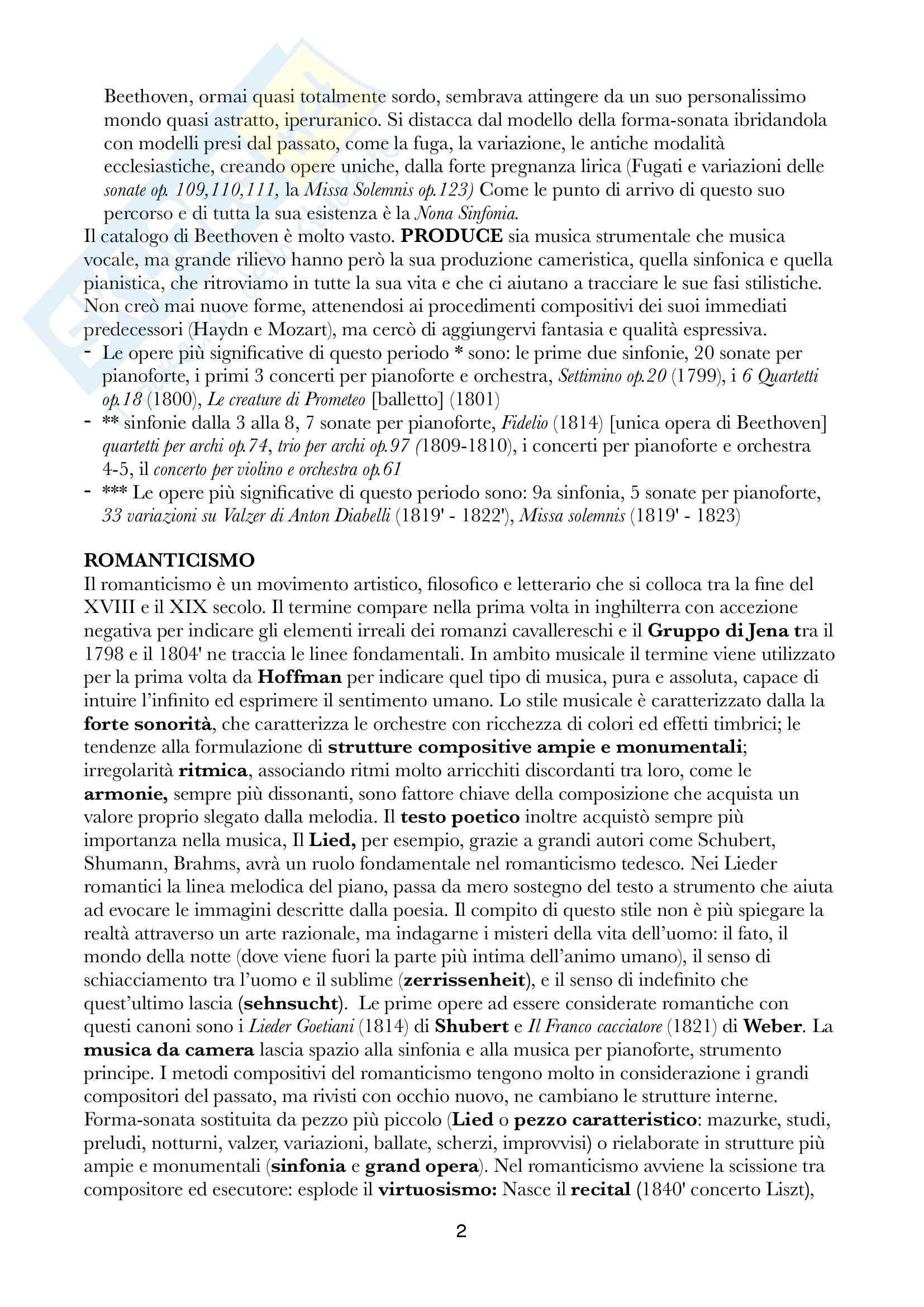 Sunti di Storia della musica dell'800, Docente Bianconi/Cuomo, Libro consigliato Storia della musica occidentale + Dispensa del corso Pag. 2