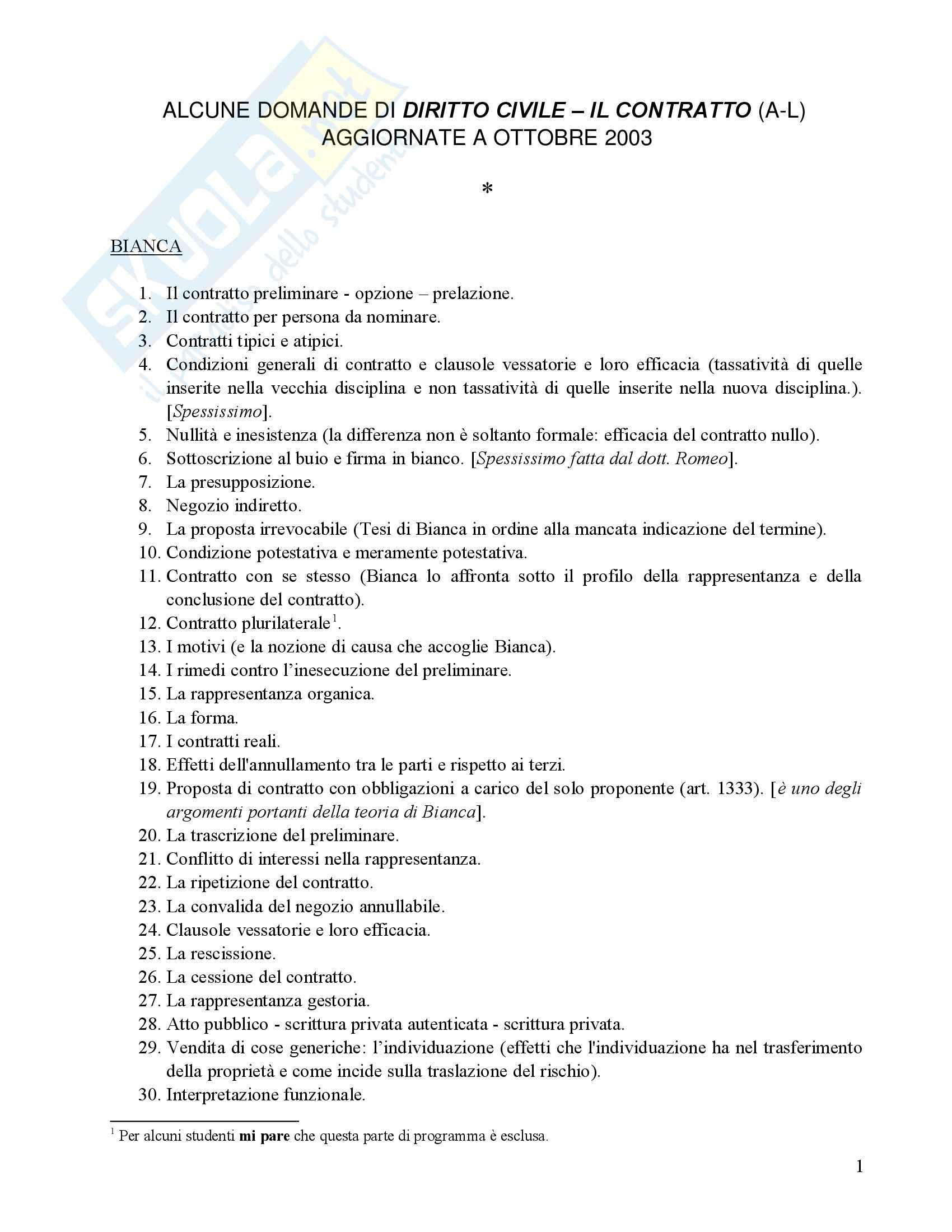 Diritto Civile - Domande d'esame