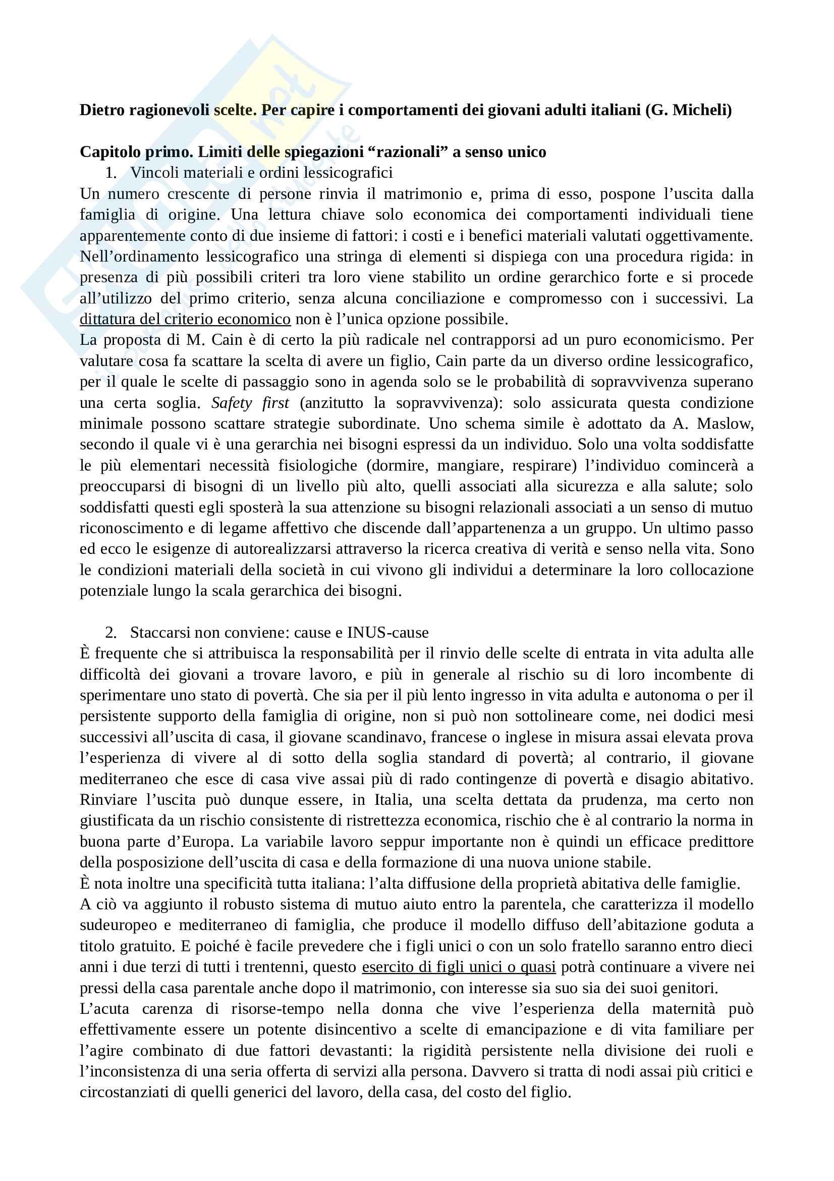 Riassunto esame antropologia sociale, Prof. Viazzo, libro consigliato Dietro ragionevoli scelte, Micheli