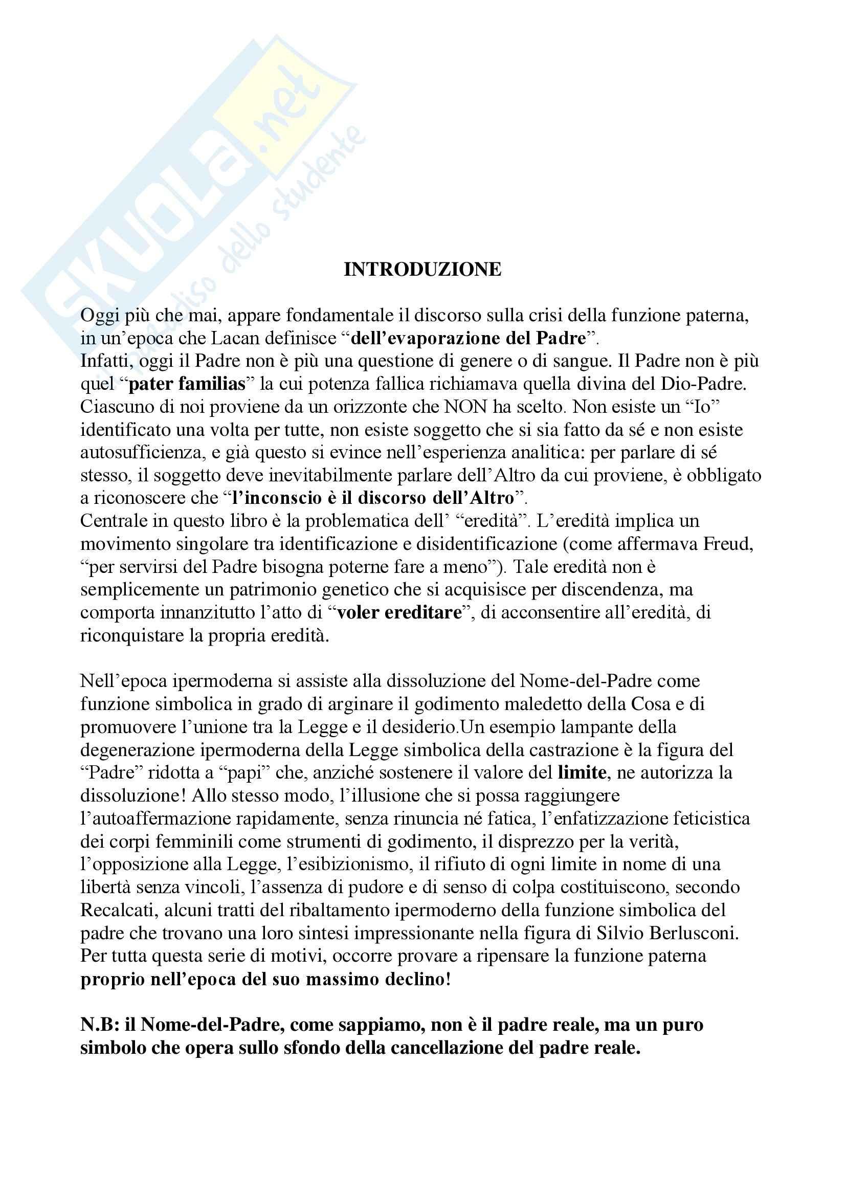 Riassunto esame Psicologia clinica, prof. Lo Castro, libro consigliato Cosa resta del padre, Recalcati