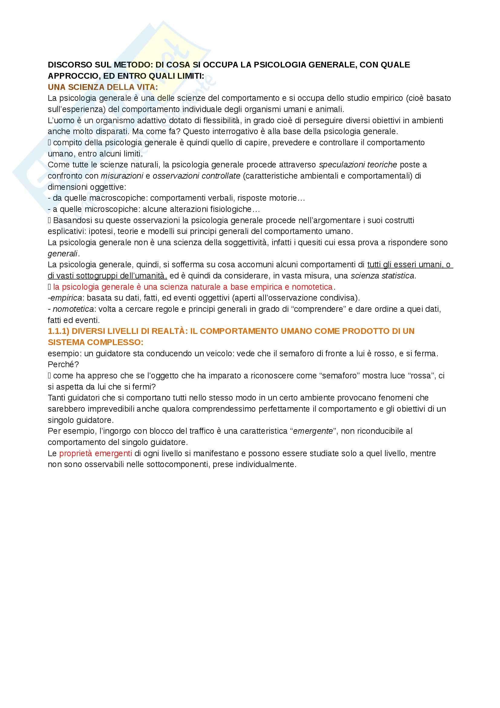 Riassunto esame Psicologia generale 1, prof. Bricolo, libro consigliato Psicologia generale 1, Cherubini