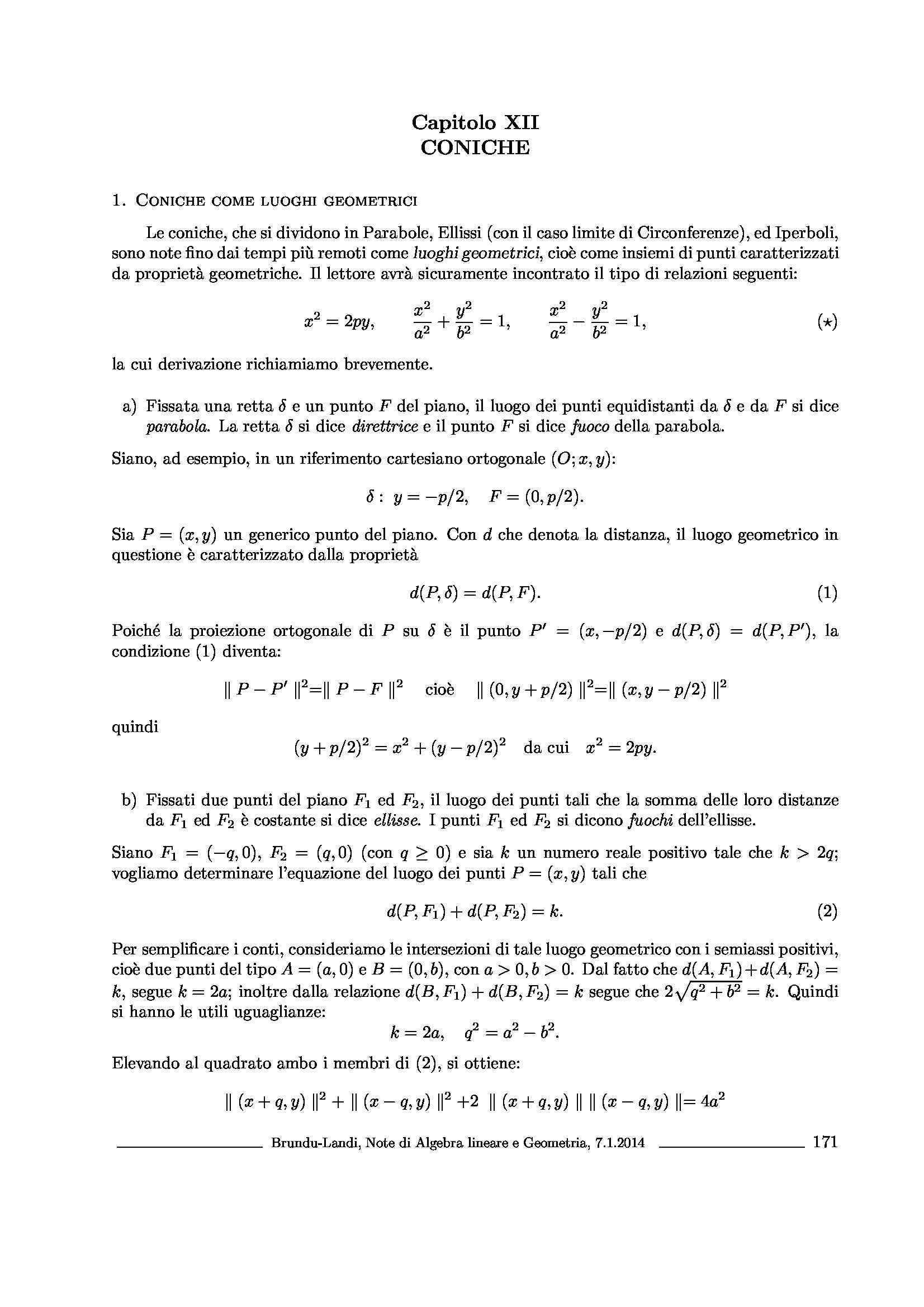 Dispensa di Matematica - Coniche