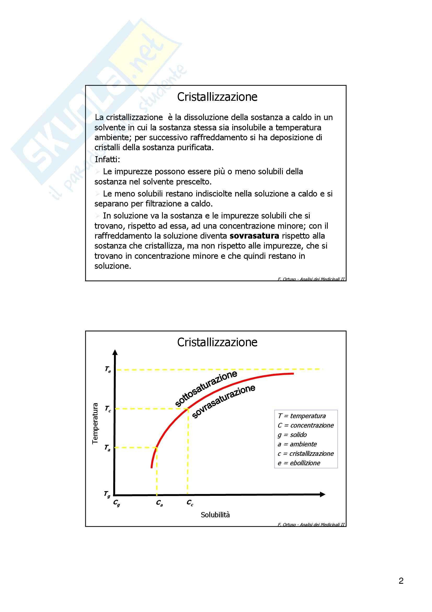 Laboratorio di preparazioni estrattive e sintesi dei farmaci - cristallizzazione Pag. 2