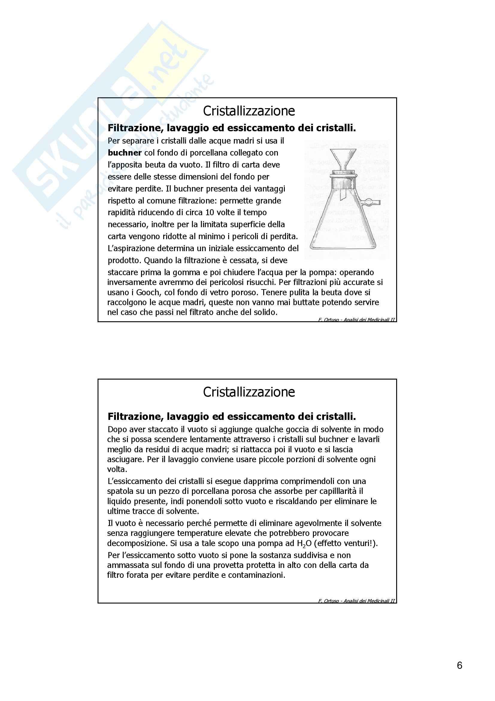 Laboratorio di preparazioni estrattive e sintesi dei farmaci - cristallizzazione Pag. 6