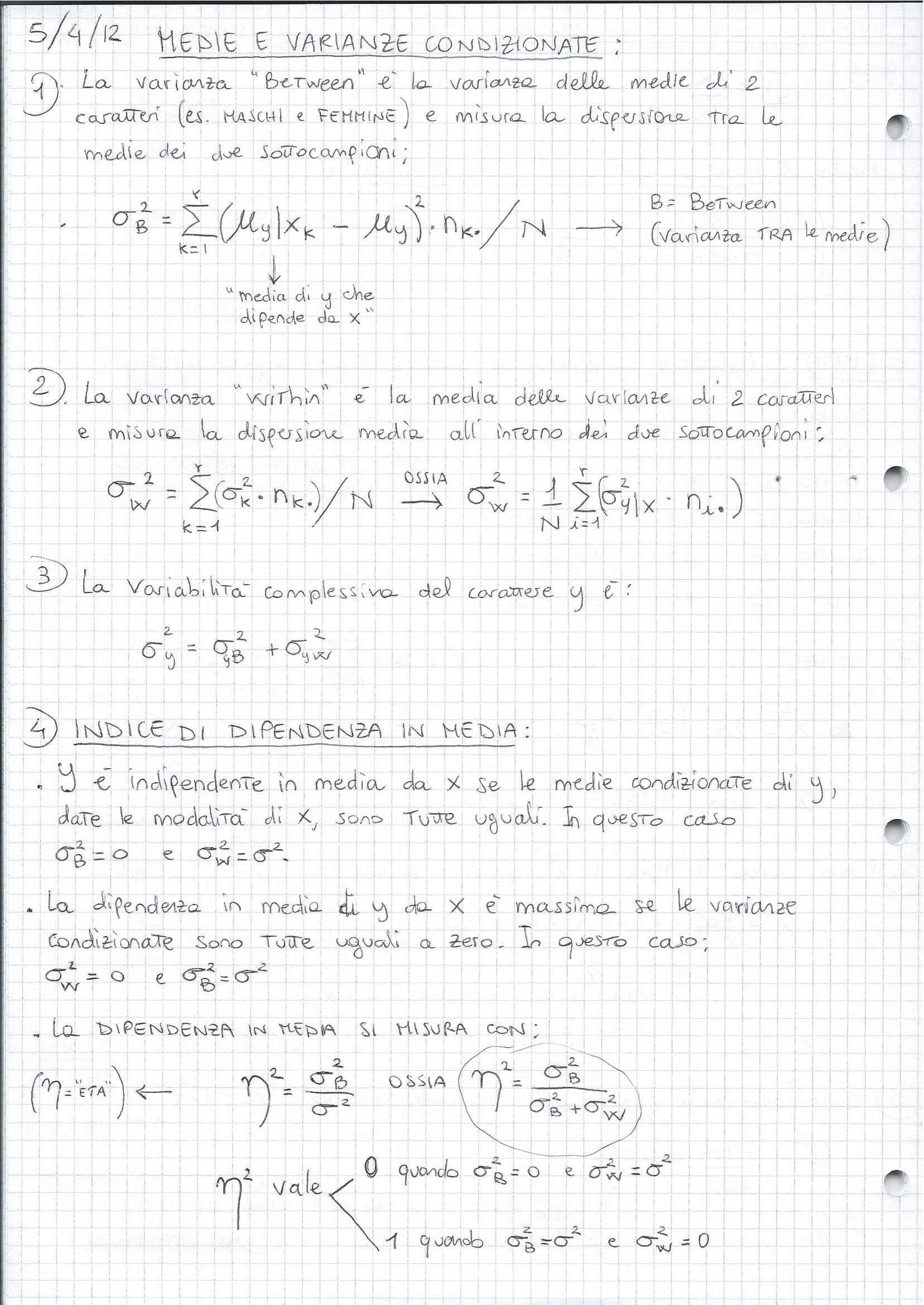 Statistica - Medie e varianze condizionate