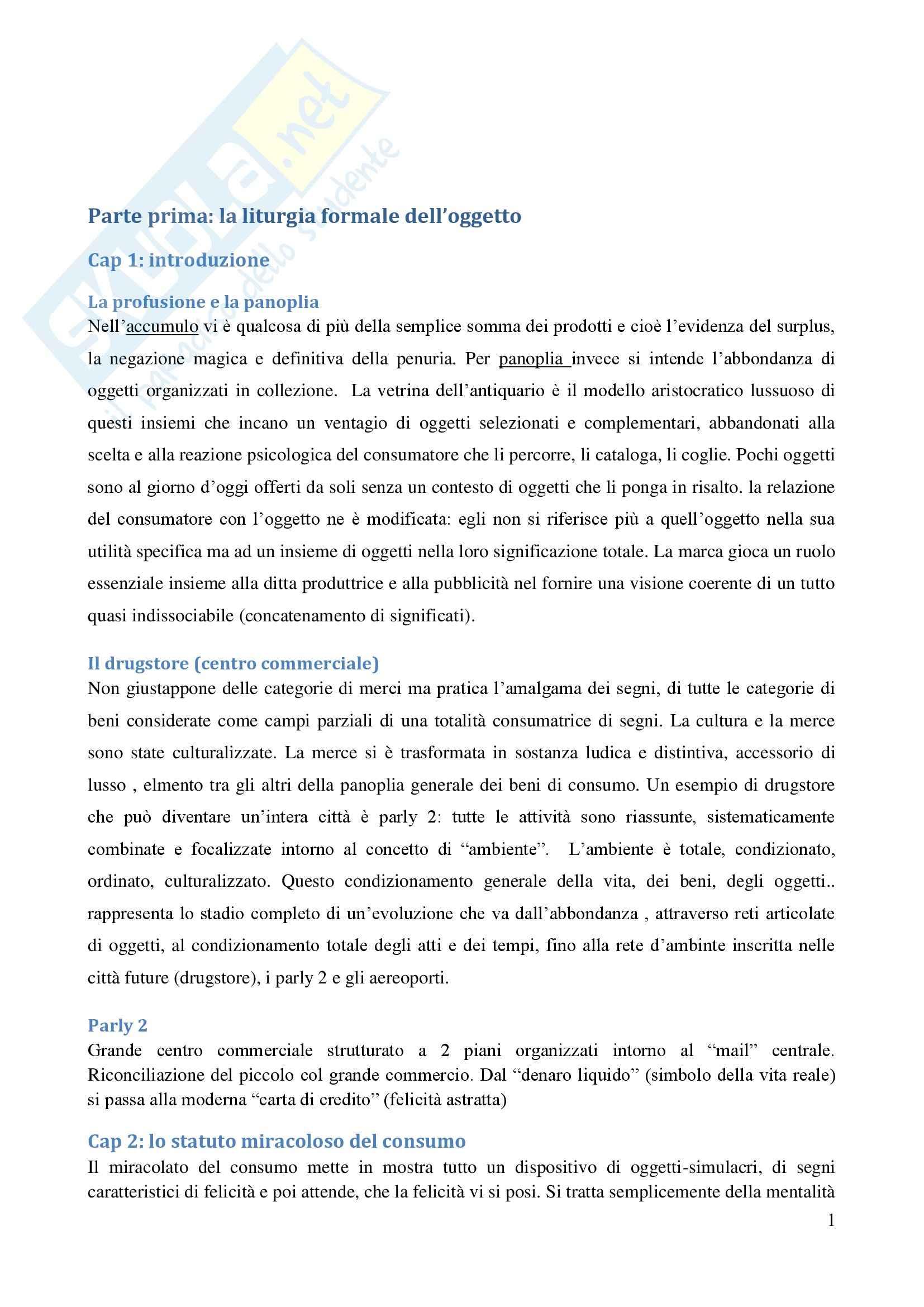 Riassunto esame sociologia, prof. De Biasi, libro consigliato La società dei consumi, Baudrillard