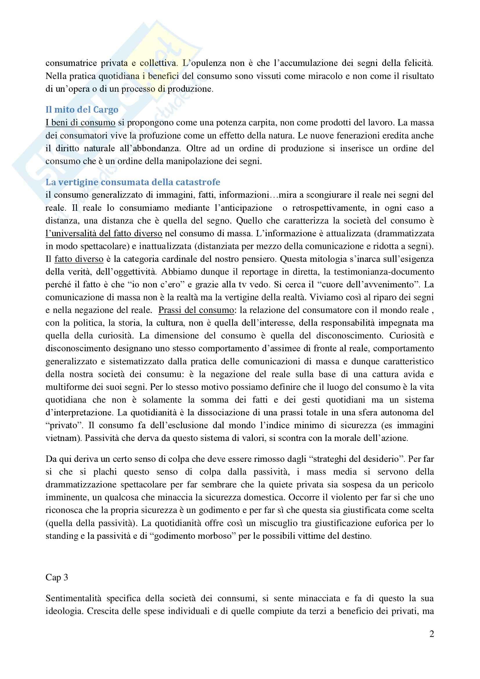 Riassunto esame sociologia, prof. De Biasi, libro consigliato La società dei consumi, Baudrillard Pag. 2