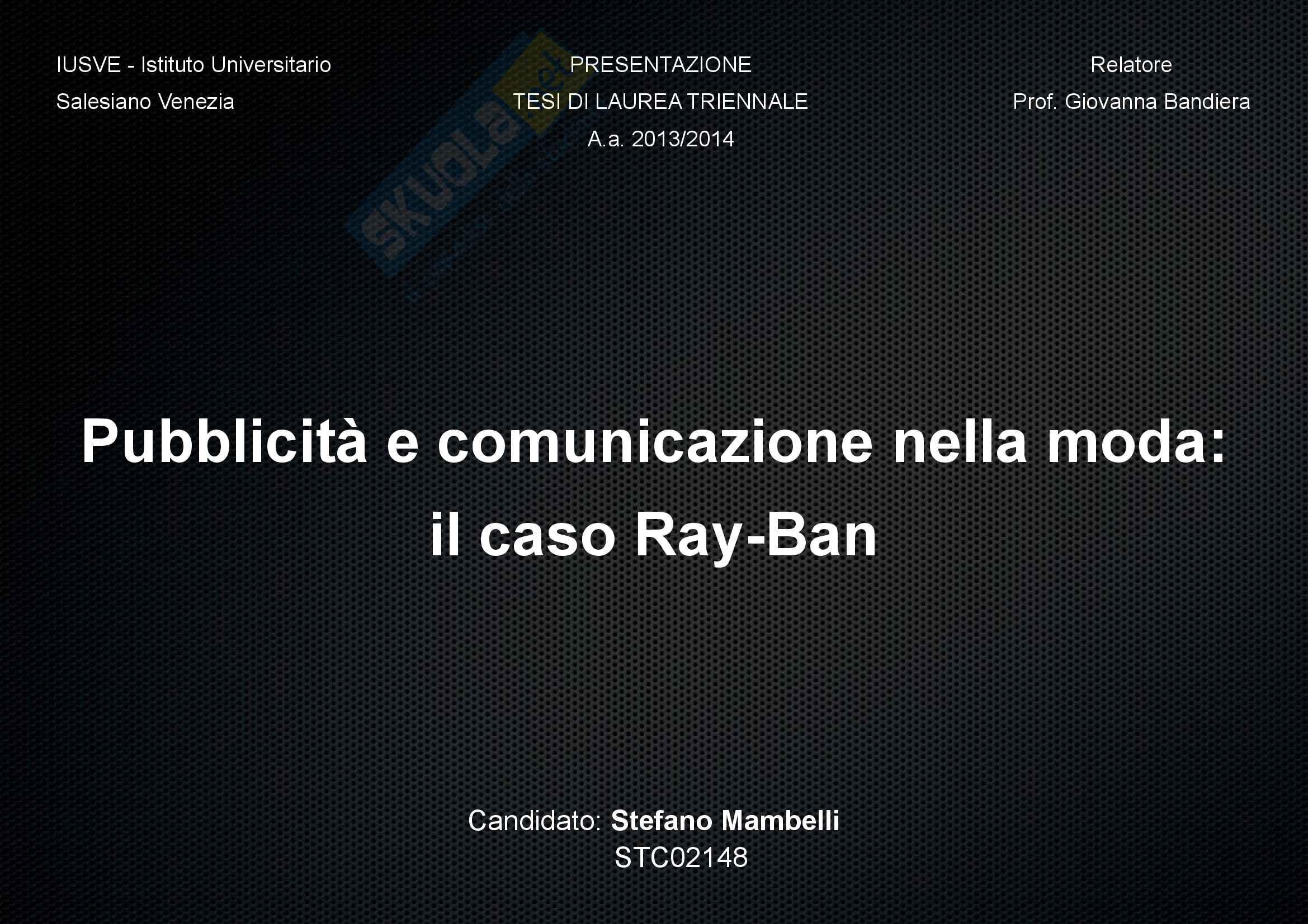 Presentazione Ray Ban Power Point Pag. 1