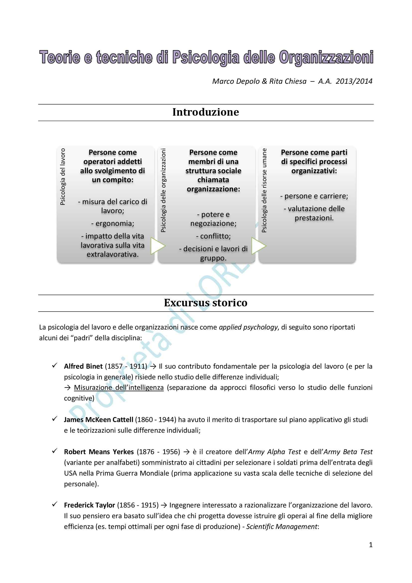 Teorie e Tecniche di Psicologia delle Organizzazioni - Appunti