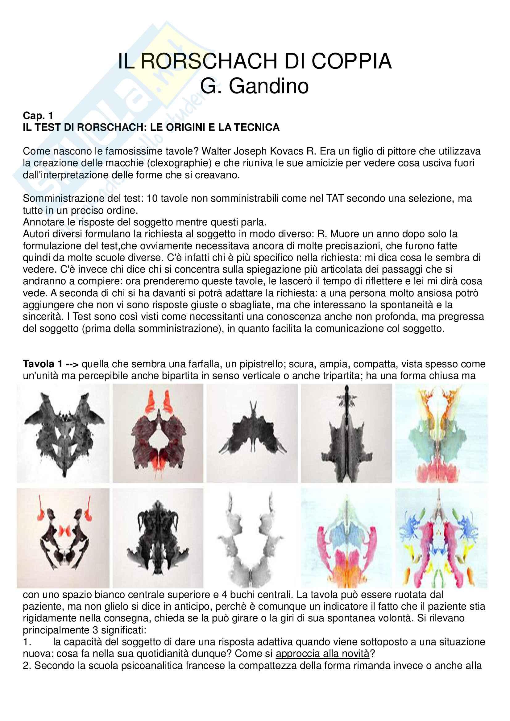 Riassunto esame psicologia clinica, prof. Gandino, libro consigliato Rorschach di coppia, Gandino
