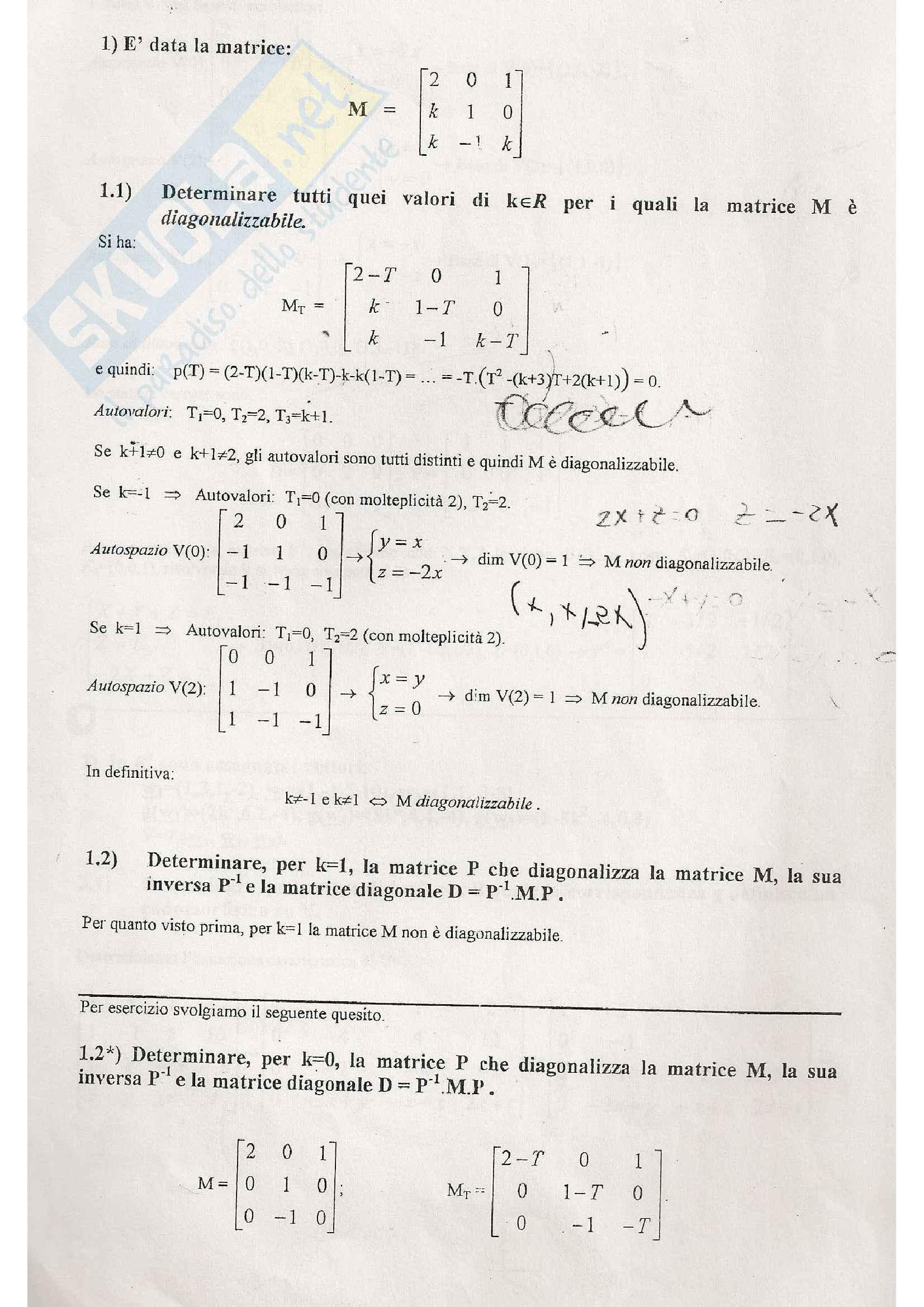 Algebra lineare e geometria - esercizi