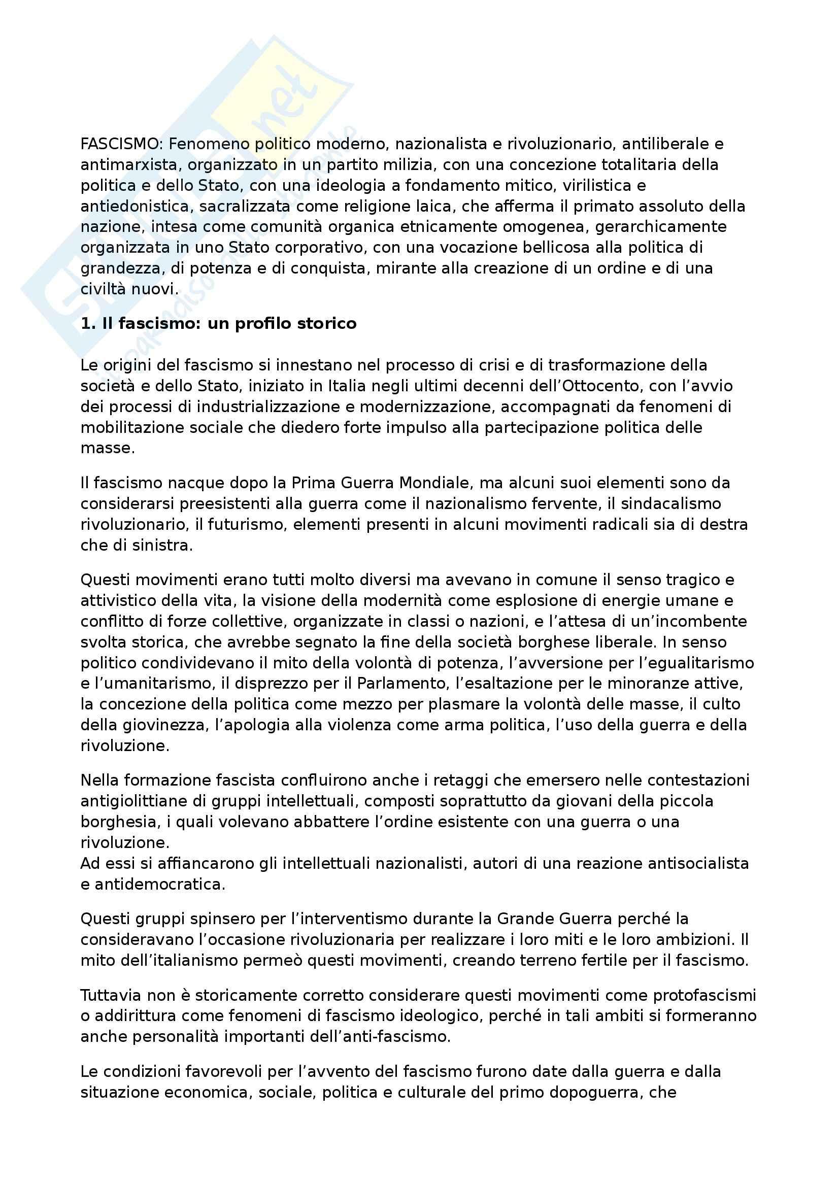 Riassunto esame Storia Contemporanea, prof. Formigoni, libro consigliato Il Fascismo in Tre Capitoli di Gentile