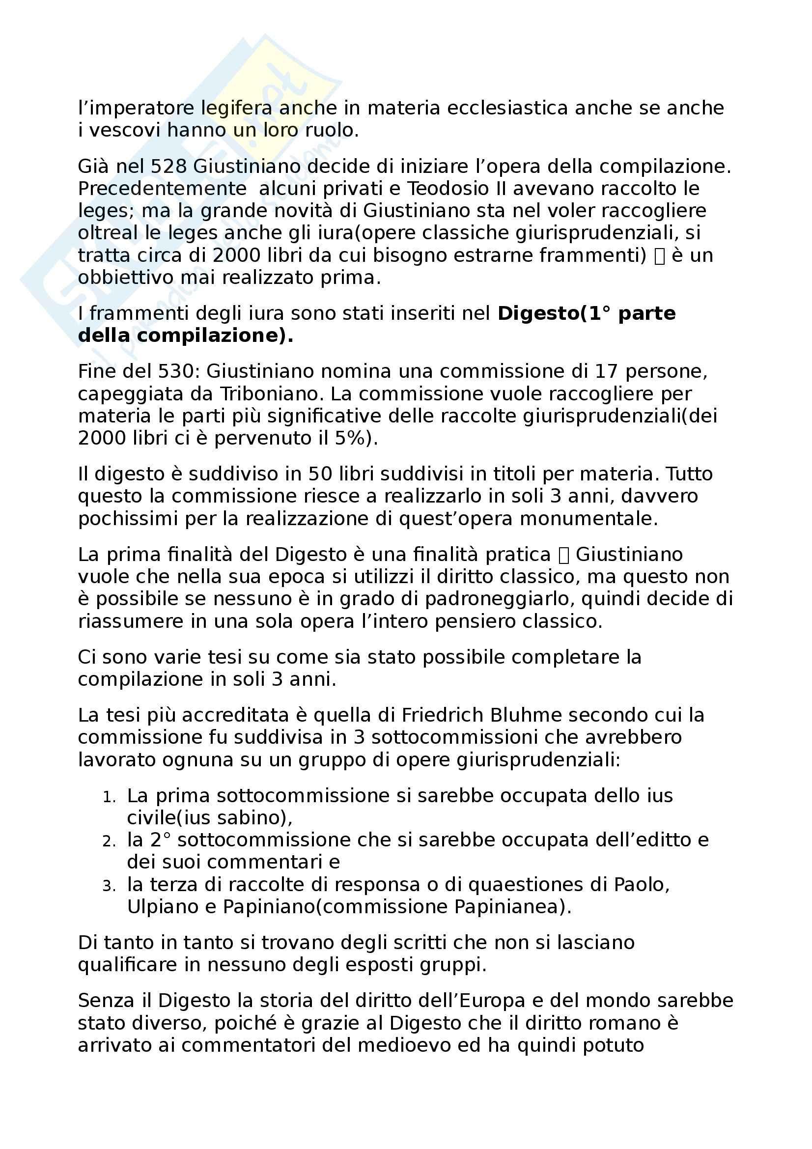 Storia del diritto romano - La compilazione giustinianea Pag. 2