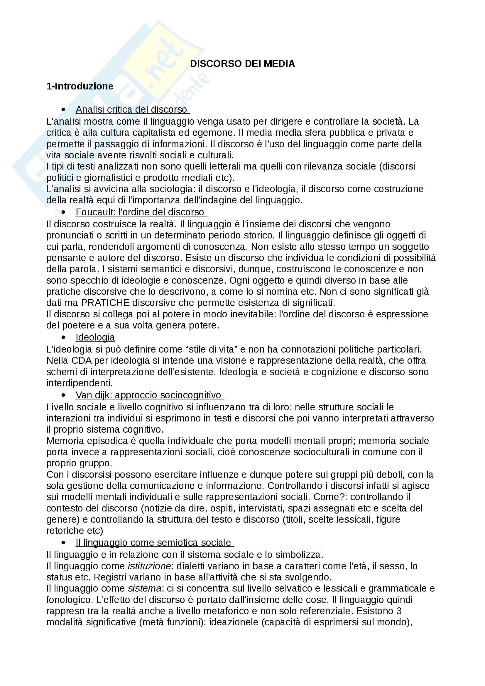 Riassunto esame di sociolinguistica, prof. Boni Federico, libro consigliato Il Discorso dei Media, Antelmi
